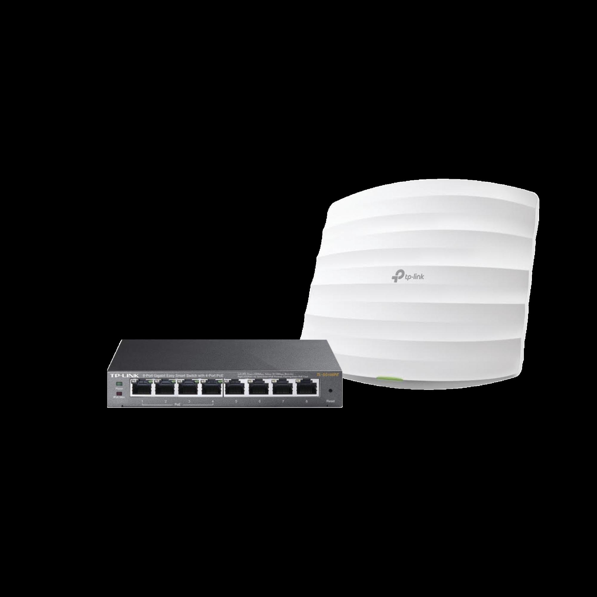 Kit de access point EAP245 y switch PoE TL-SG108PE, doble banda AC, hasta 1750 Mbps, 1 puerto Gigabit