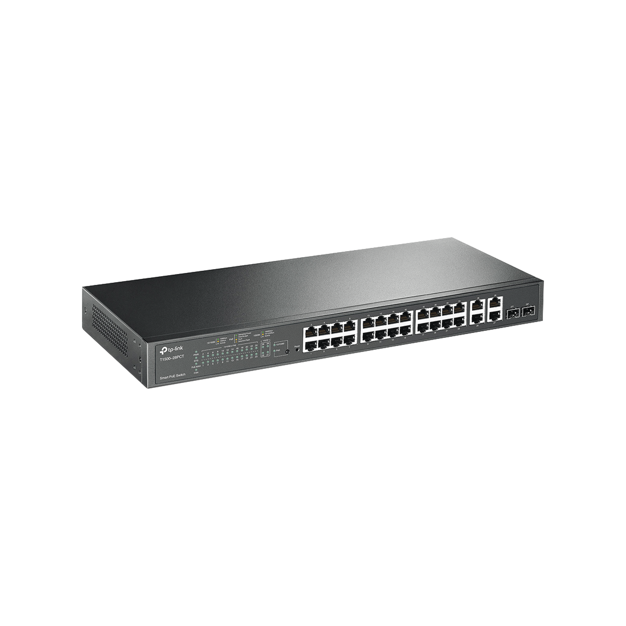 Smart Switch PoE+ administrable Capa 2, 24 puertos 10/100 Mbps, 4 puertos 10/100/1000 Mbps + 2 puertos SFP combo, 192 W