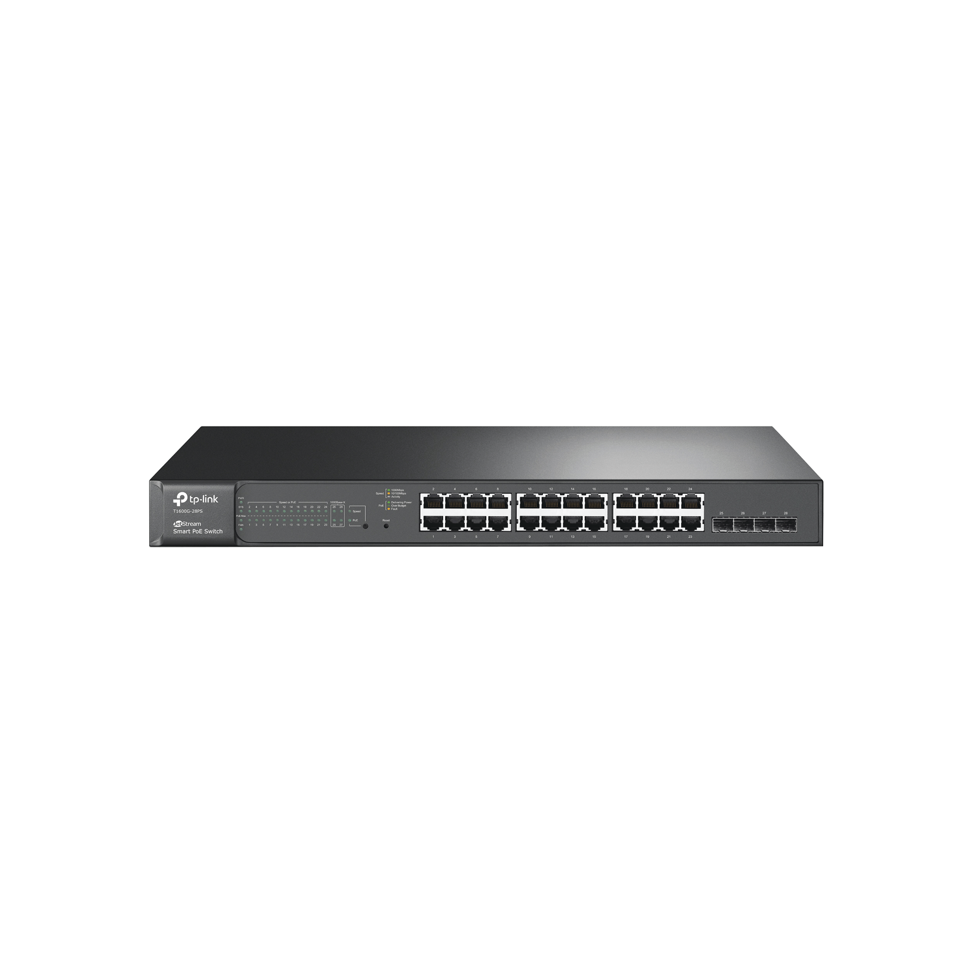 Smart Switch JetStream PoE+ administrable Capa 2, 24 puertos 10/100/1000 Mbps + 4 puertos SFP 192 W