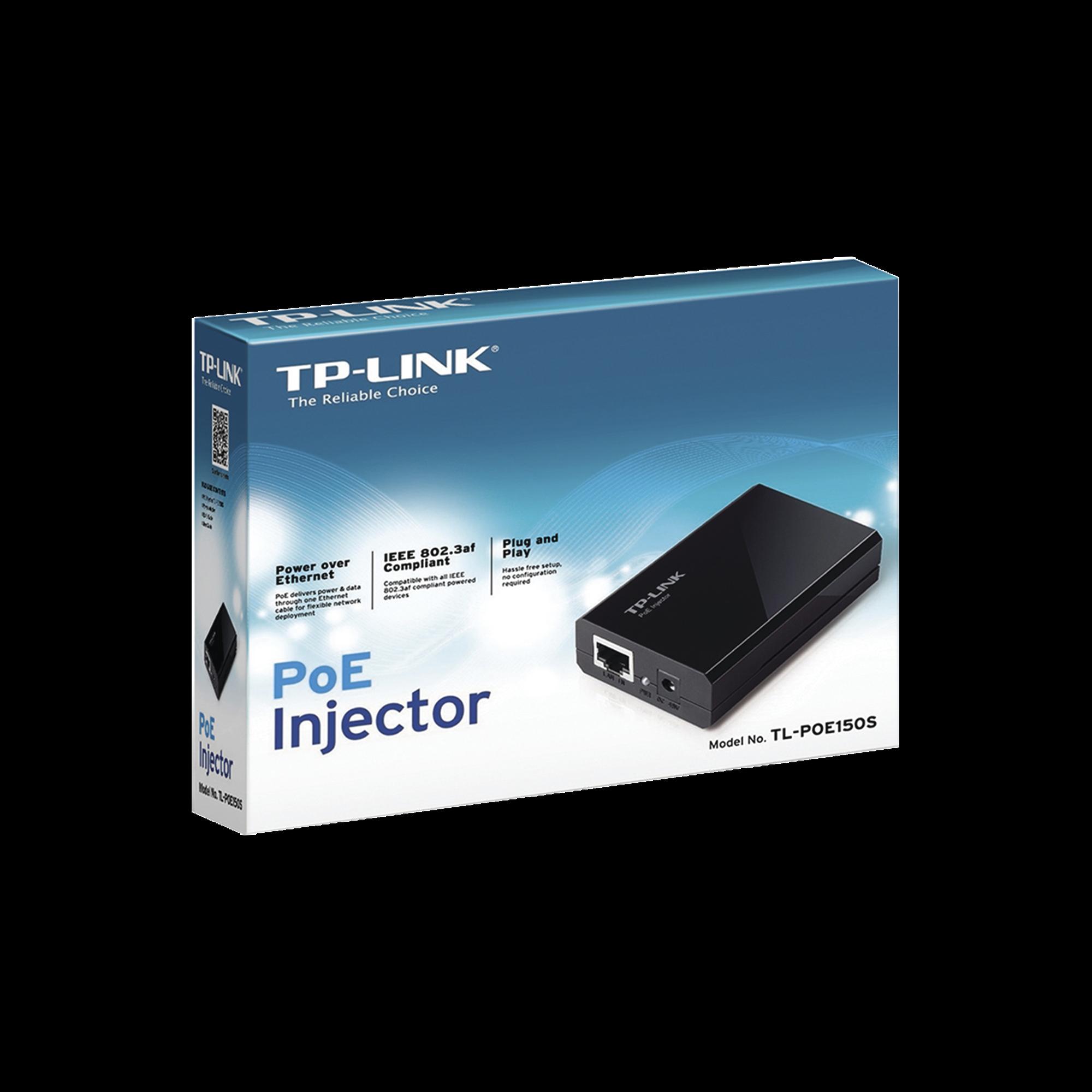 Inyector PoE Gigabit 802.3 af 1 puerto 10/100/1000 Mbps