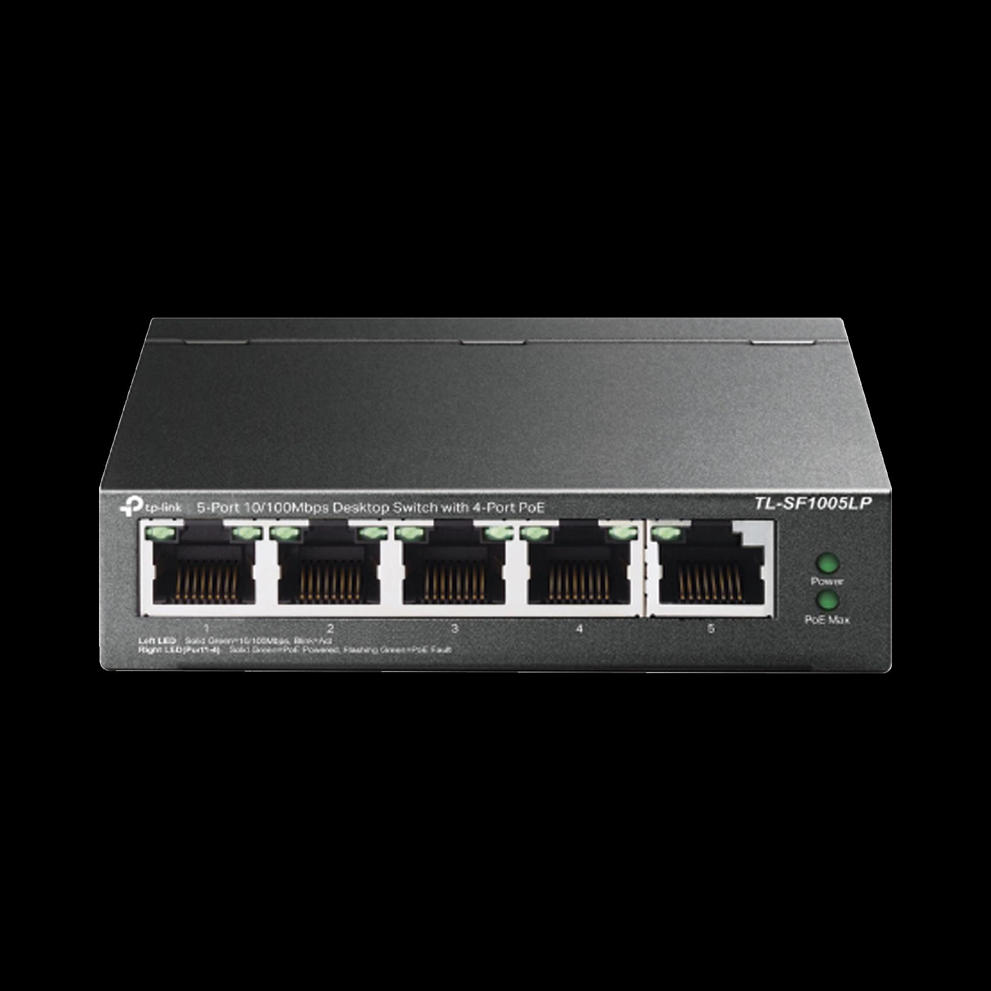 Switch PoE no Administrable de escritorio 5 puertos 10/100 Mbps, 4 puertos PoE, 41 W, modo extensor PoE hasta 250 metros.