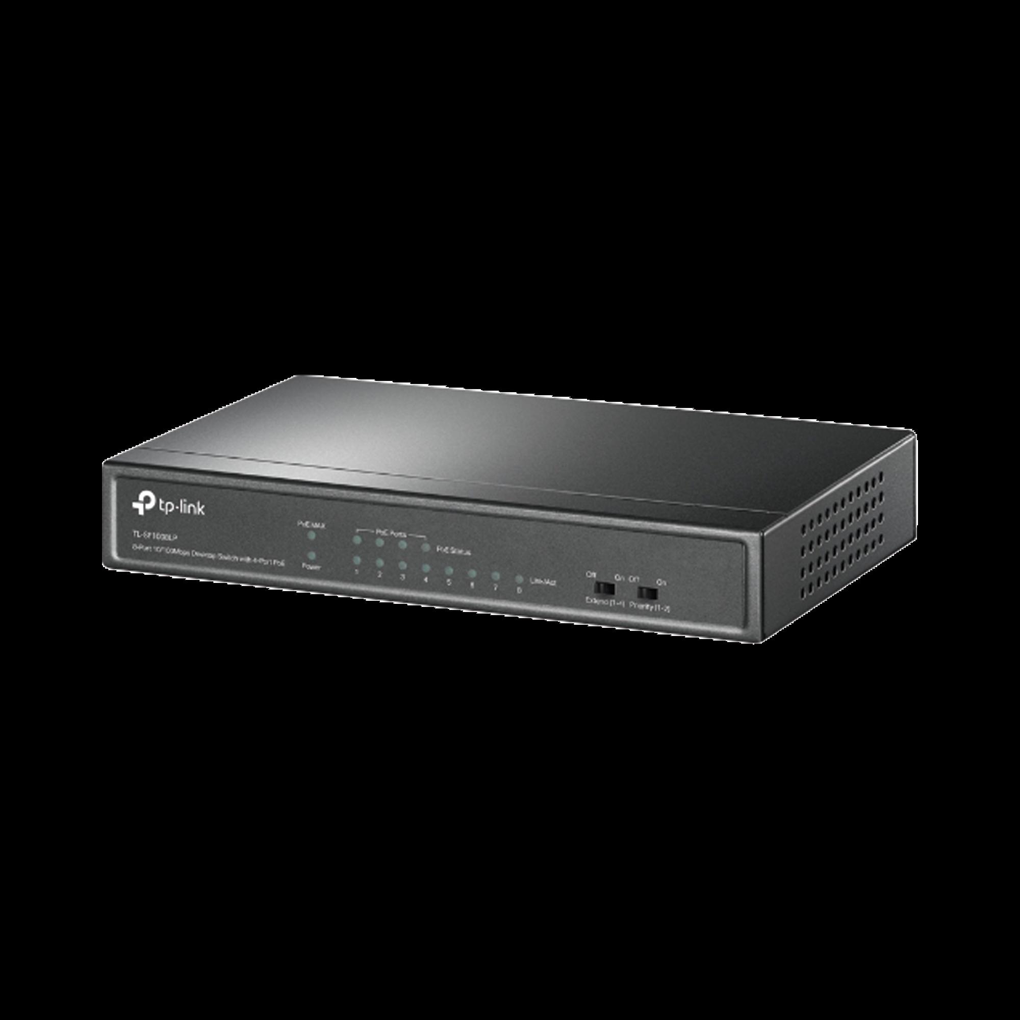 Switch PoE no Administrable de escritorio 8 puertos 10/100 Mbps, 4 puertos PoE, 41 W, modo extensor PoE hasta 250 metros.
