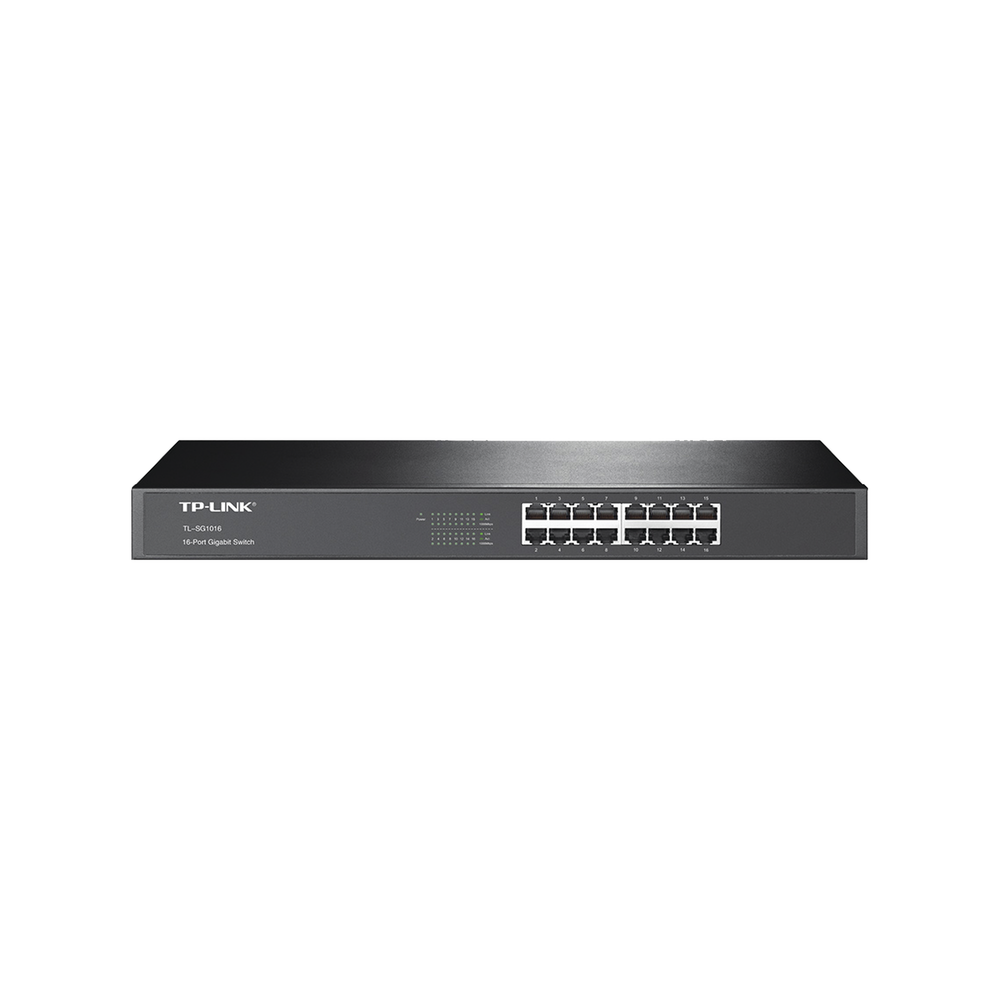 Switch Gigabit no administrable de 16 puertos 10/100/1000 Mbps para rack