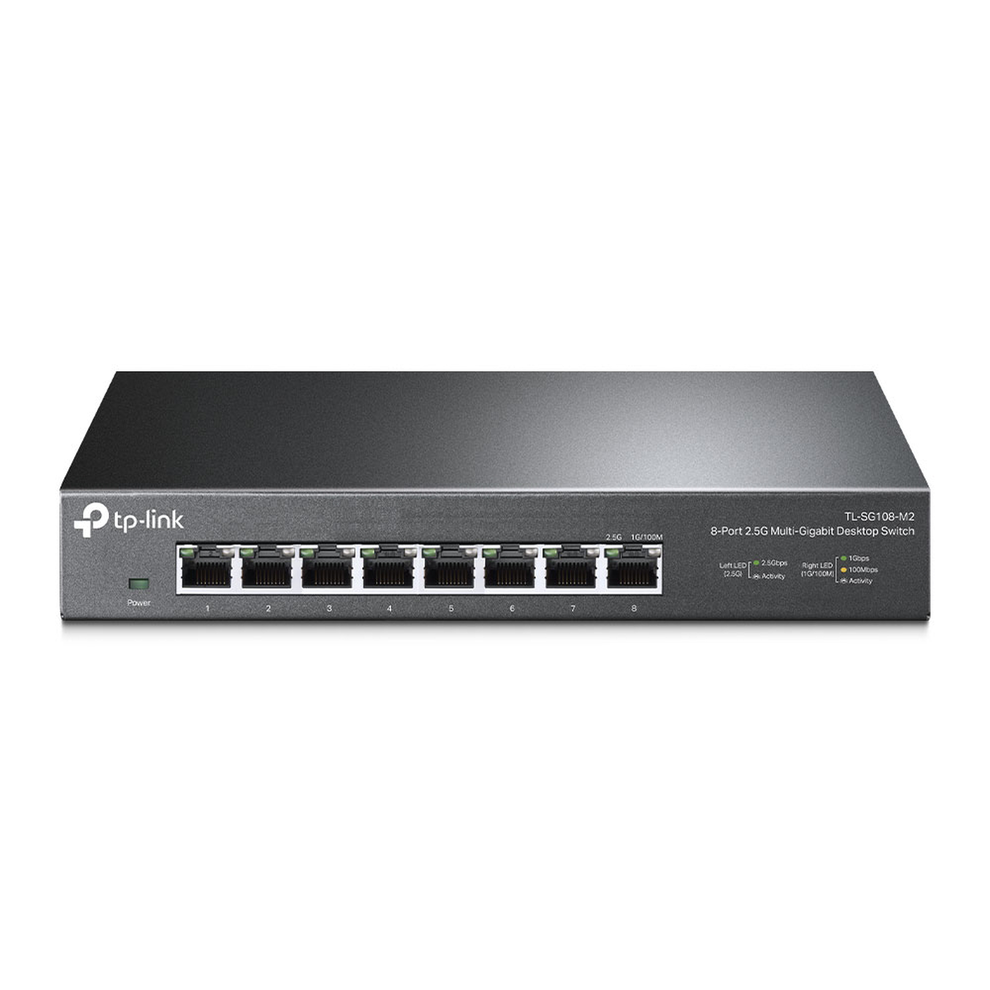Switch Gigabit no administrable de 8 puertos 100 Mbps/ 1 Gbps/ 2.5 Gbps ideal para WiFi 6