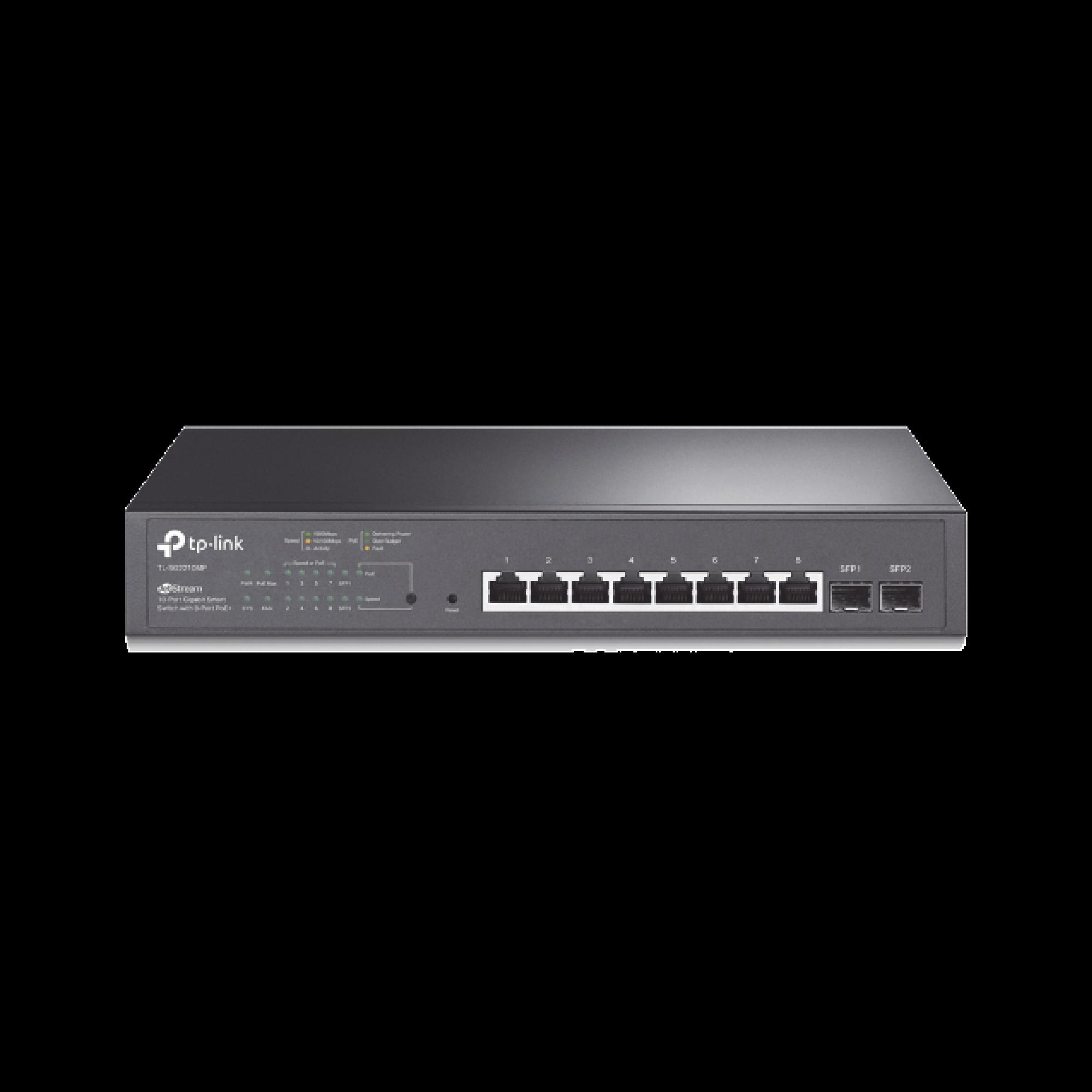 Switch PoE JetStream SDN Administrable 8 puertos 10/100/1000 Mbps + 2 puertos SFP, 8 puertos PoE, 150W, administracion centralizada OMADA SDN