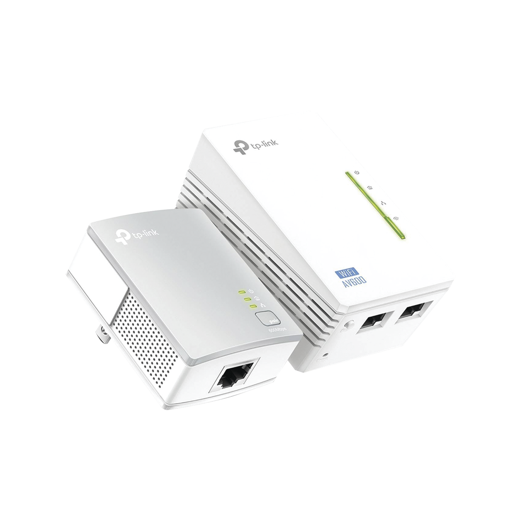 Kit Adaptador PowerLine Inalambrico 300Mbps, 2 Puertos 10/100 Mbps, HomePlug AV, Plug and Play, WiFi Clon.