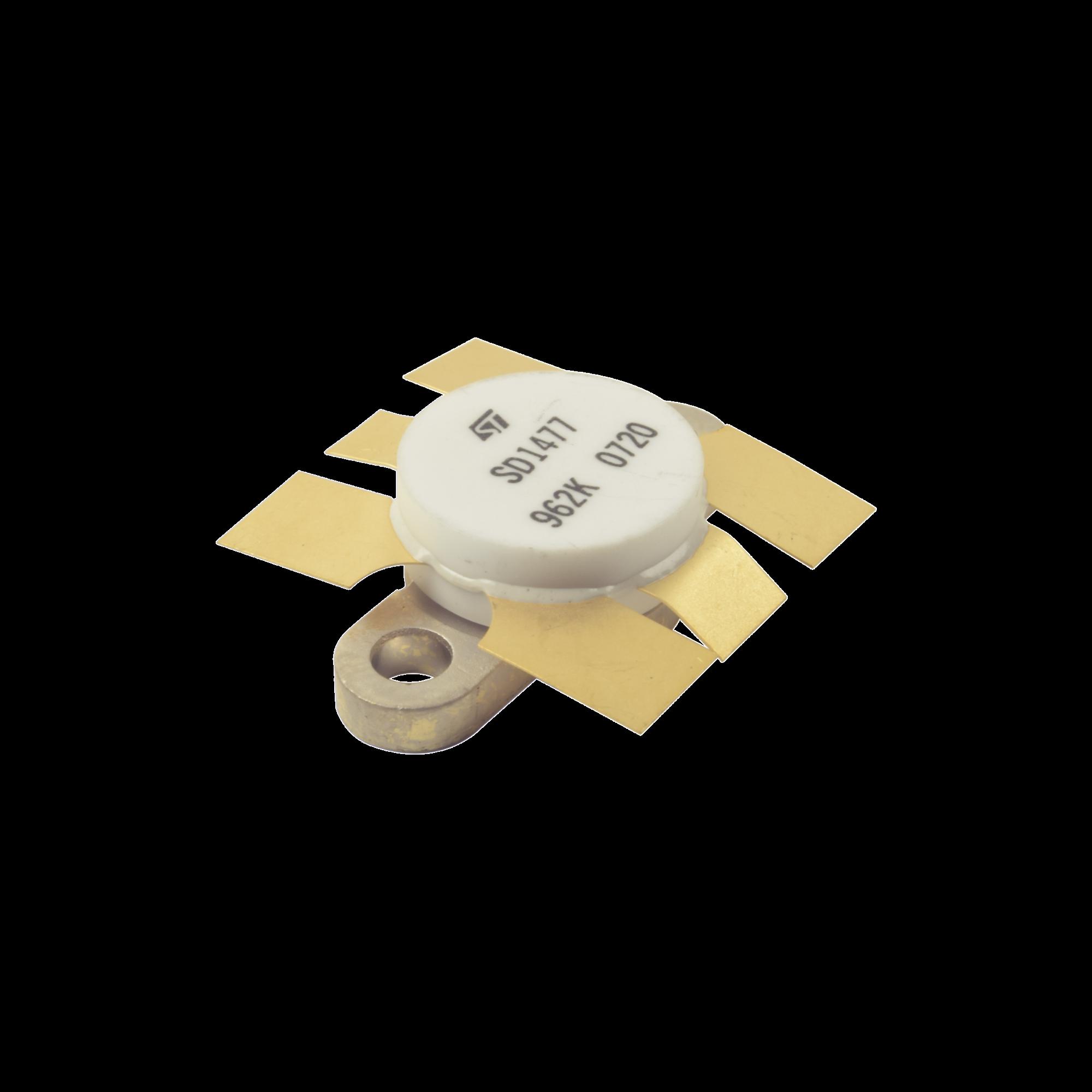 Transistor NPN de Silicón SD1477, 175 MHz, 12.5 Vcd, 100 Watt.