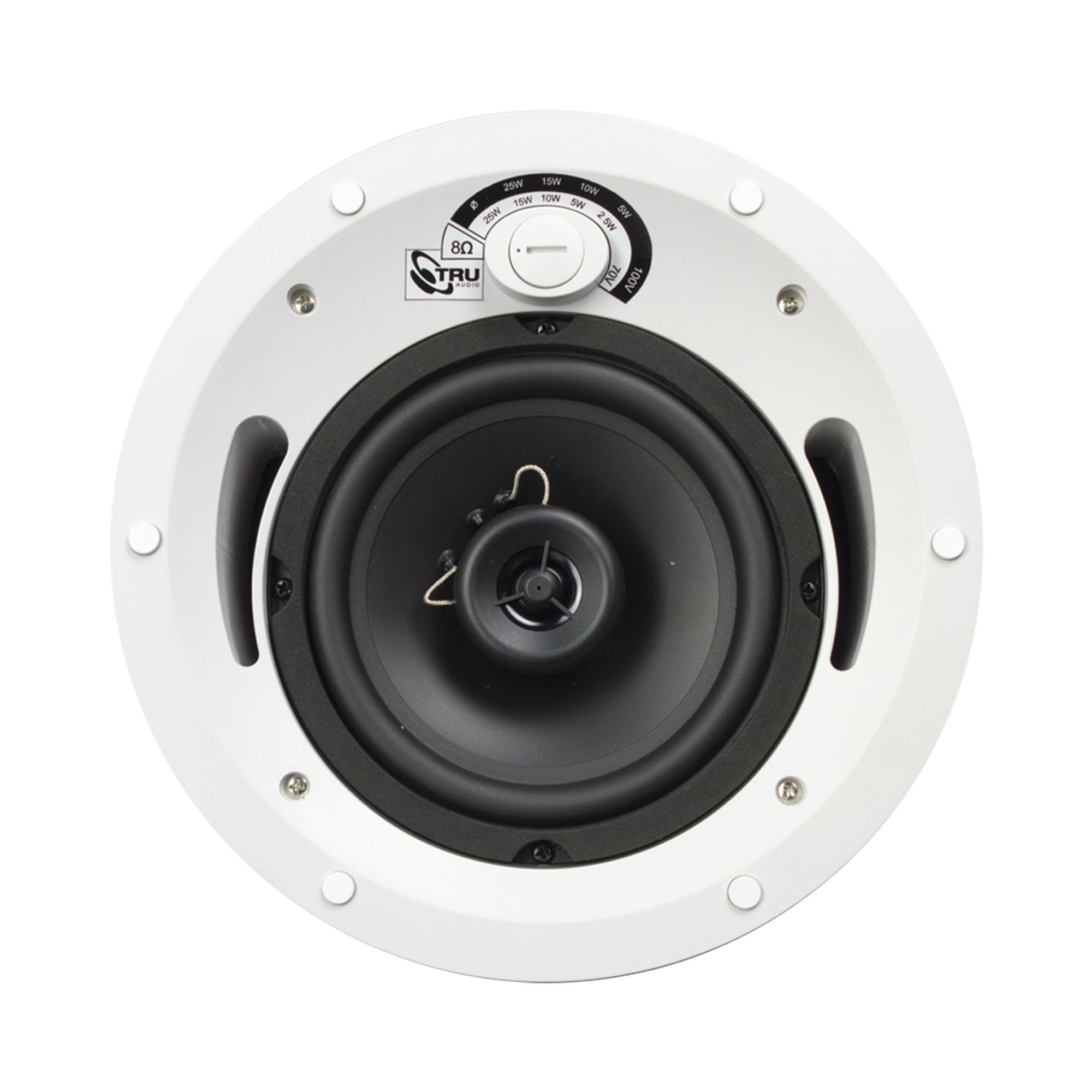 Altavoz comercial de 2 vias, 70V /100V /8 Ohms, en techo, woofer de polietileno 6.5 in, tweeter PEI 3/4in, 5-60 Watts, UL