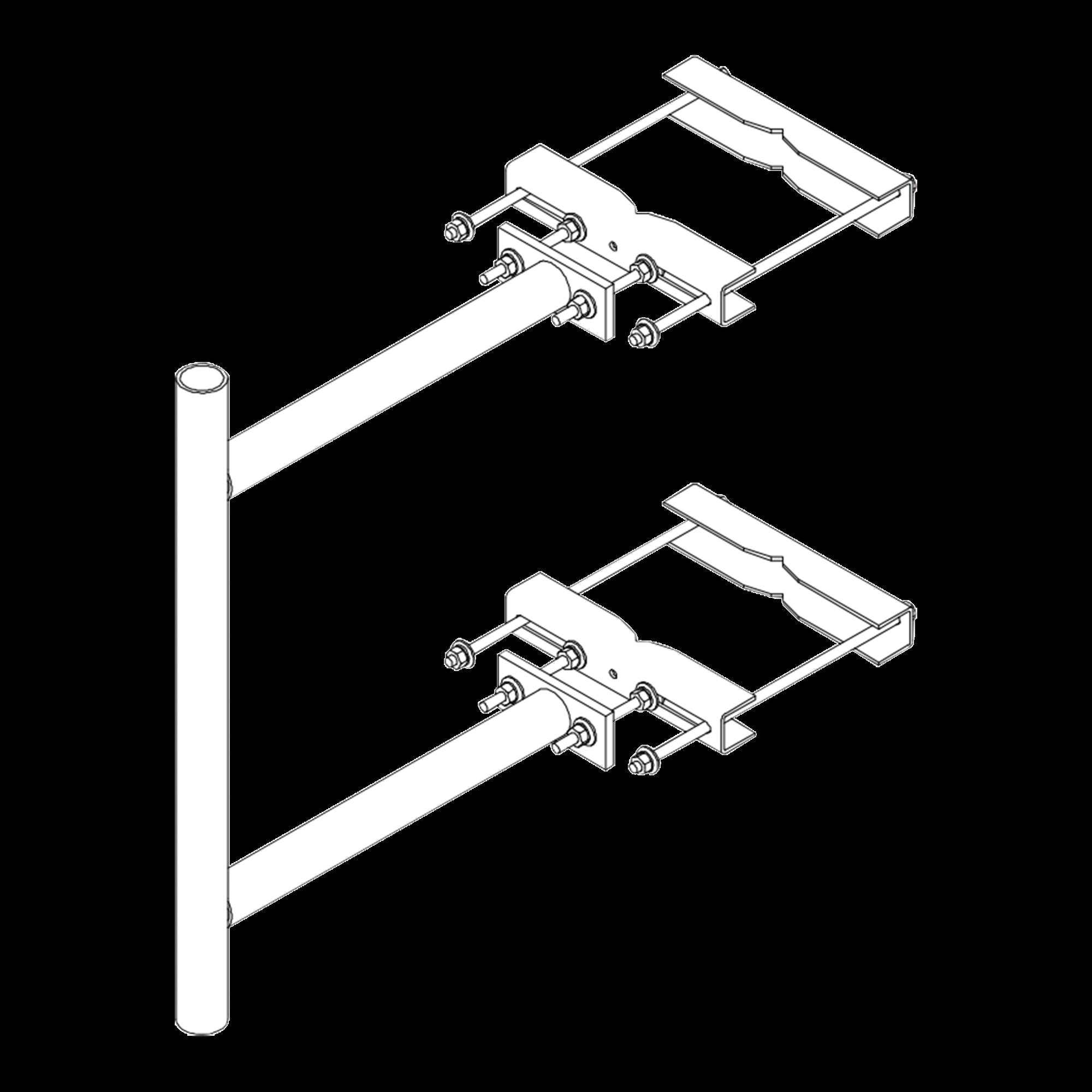 Montaje Lateral con 60 cm de Separación con ángulo Ajustable. Mástil de 2-3/8 x 36.