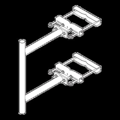 """Montaje Lateral con 60 cm de Separación con Ángulo Ajustable. Mástil de 2-3/8"""" x 36""""."""