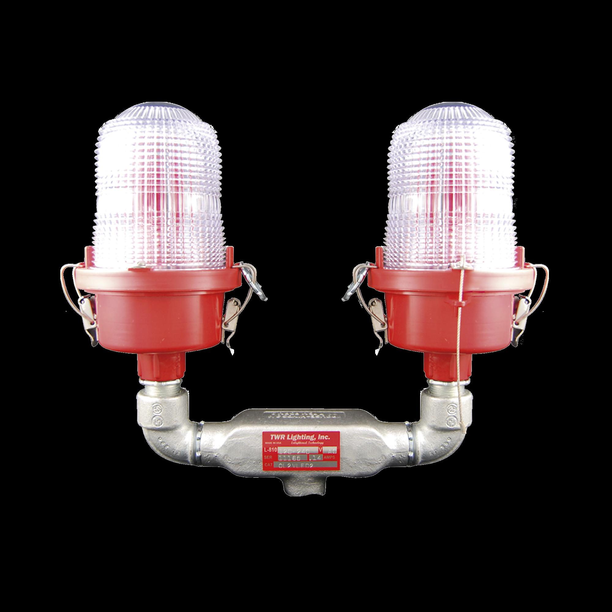 Lámpara de Obstrucción Roja, Tipo L-810, de Doble LED  (120 - 240 Vca).