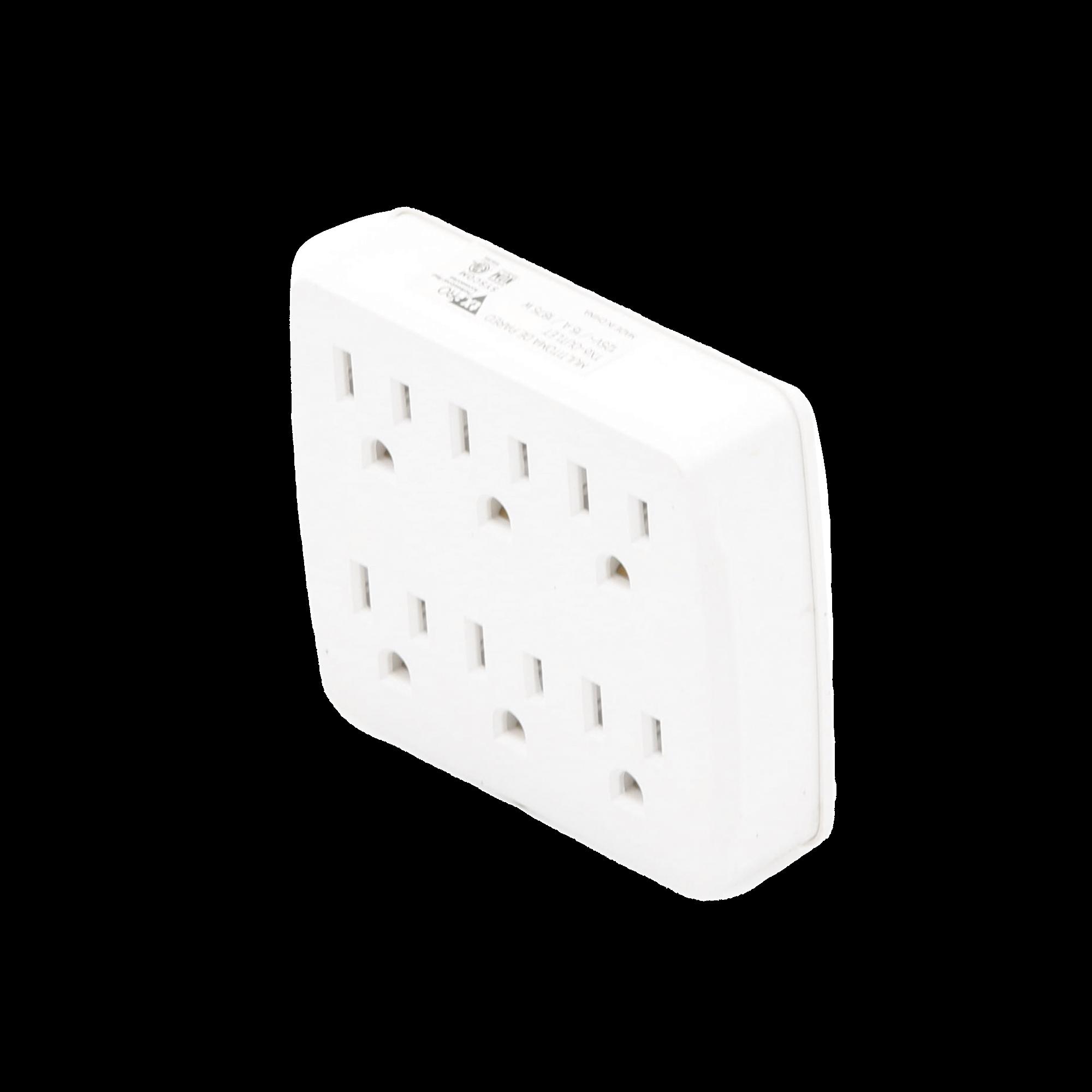 Multicontacto para pared con 6 contactos color blanco,125 V /15 A