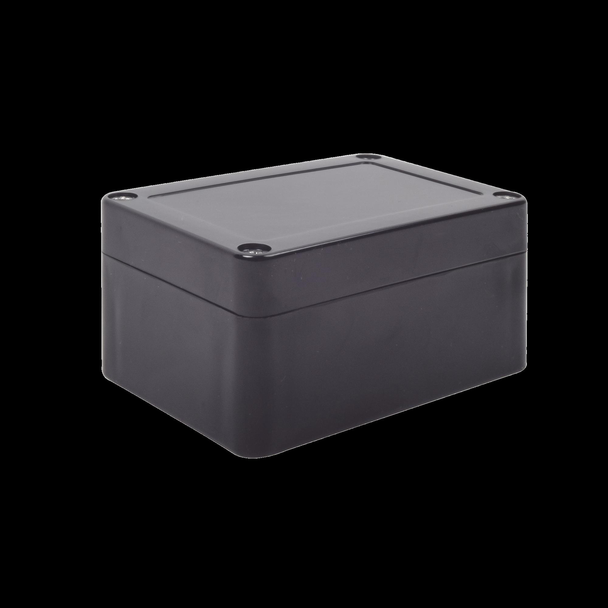 Gabinete Plástico Negro para Exterior (IP65) de 100 x 68 x 50 mm Cierre por Tornillos.