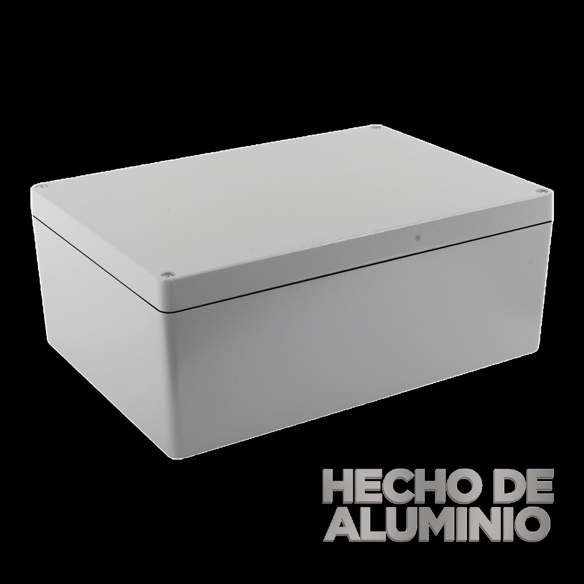 Gabinete de Aluminio para Exterior (IP66) de 390 x 280 x 158 mm con Rápida Disipación de Calor, Cierre por Tornillos con Bisagra.