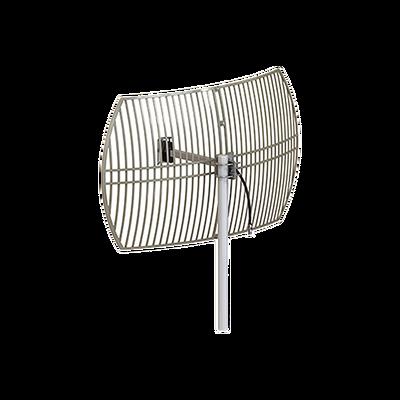 Antena Rejilla direccional, Ganancia 24 dBi, Dimensiones (90 x 60 x 38 cm), rango de frecuencia (2300-2500 MHz).