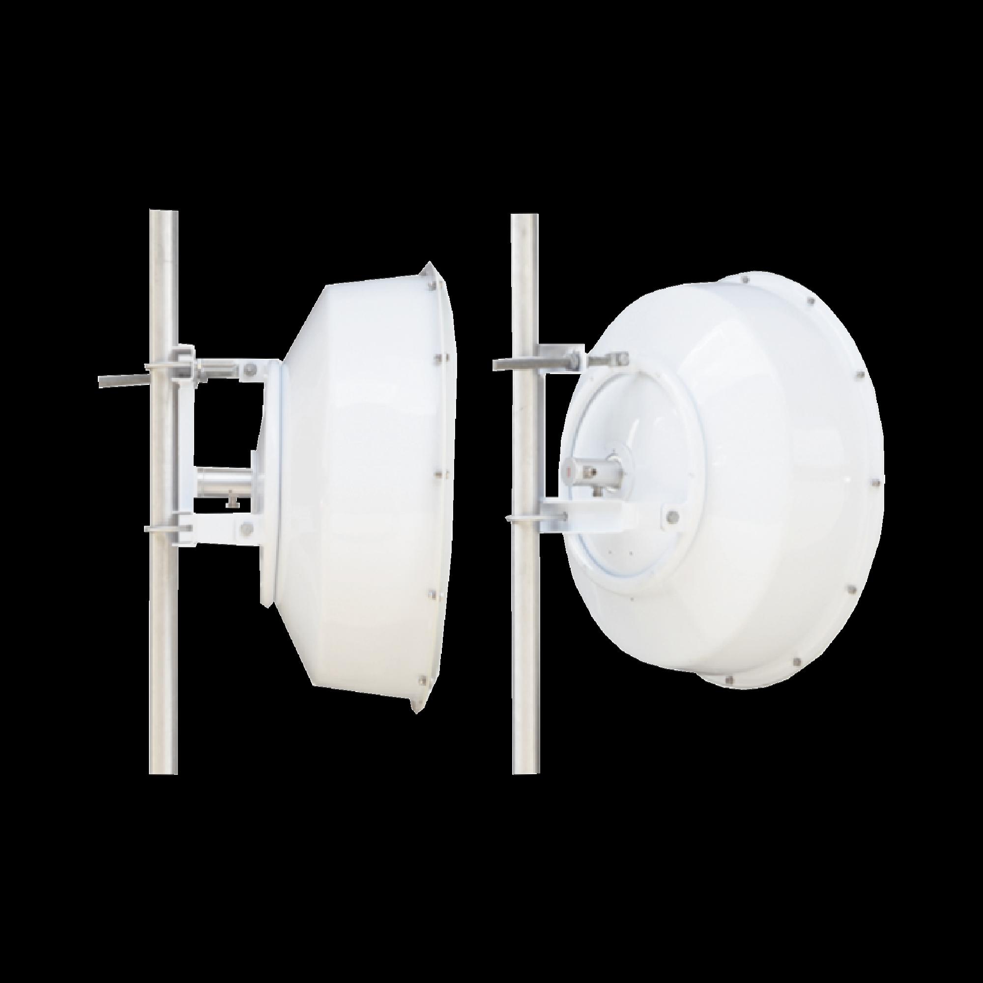 Antena direccional de alta resistencia, Ganancia 30 dBi, (4.9 -6.4 GHz), Plato hondo para mayor inmunidad al ruido, Conectores N-Hembra, Montaje incluido.