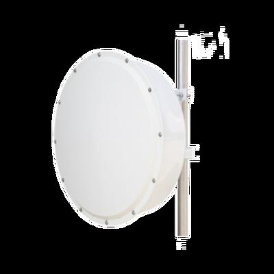 Antena direccional de alta resistencia, Ganancia 30 dBi, (4.9 -6.5 GHz), Plato hondo para mayor inmunidad al ruido, Conectores N-Hembra, Montaje y radomo incluido