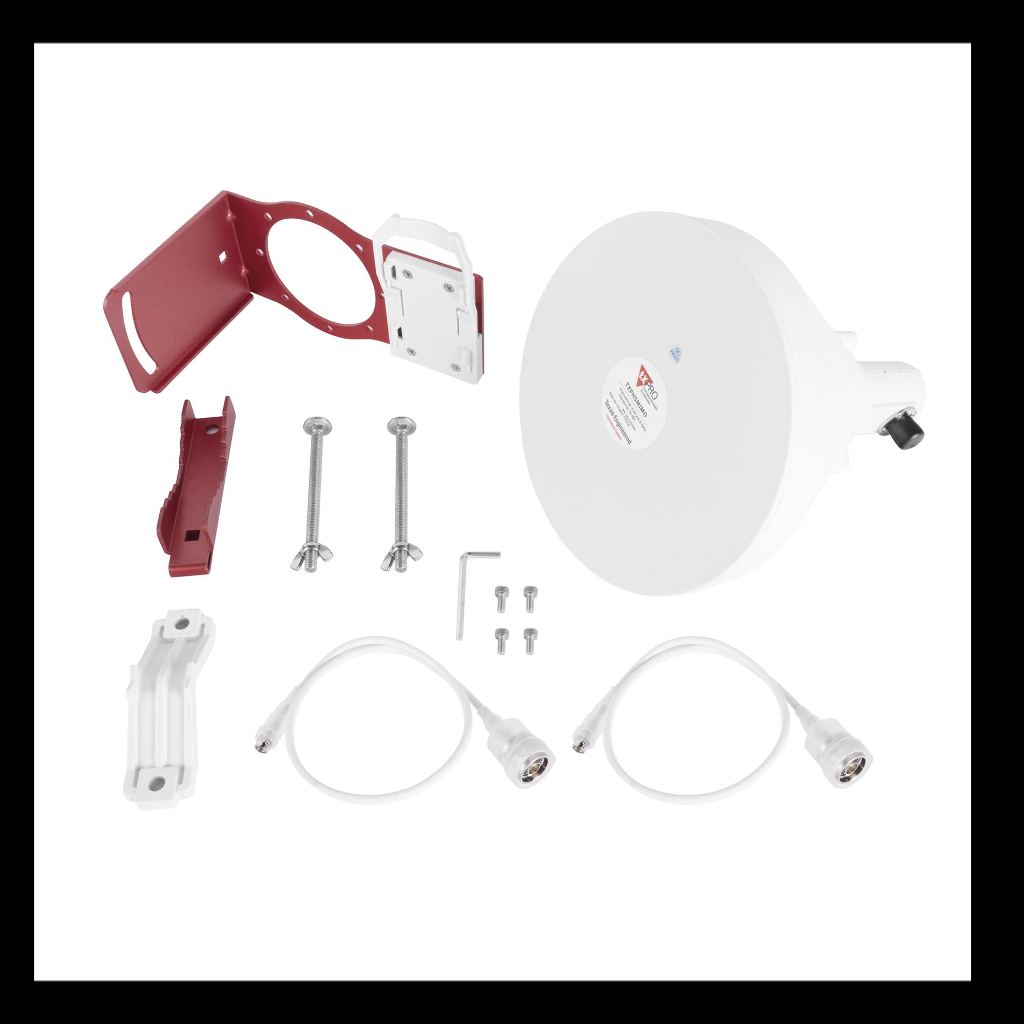 Antena Sectorial Simétrica de 30 ?, 19 dBi, 4.9-6.5 GHz, Ideal para ambientes de alto ruido,  Tipo de conector N-Hembra, con montaje y jumpers incluidos