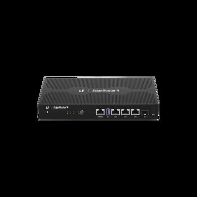 EdgeRouter 4, con 3 puertos 10/100/1000 Mbps + 1 puerto SFP, con funciones avanzadas de ruteo