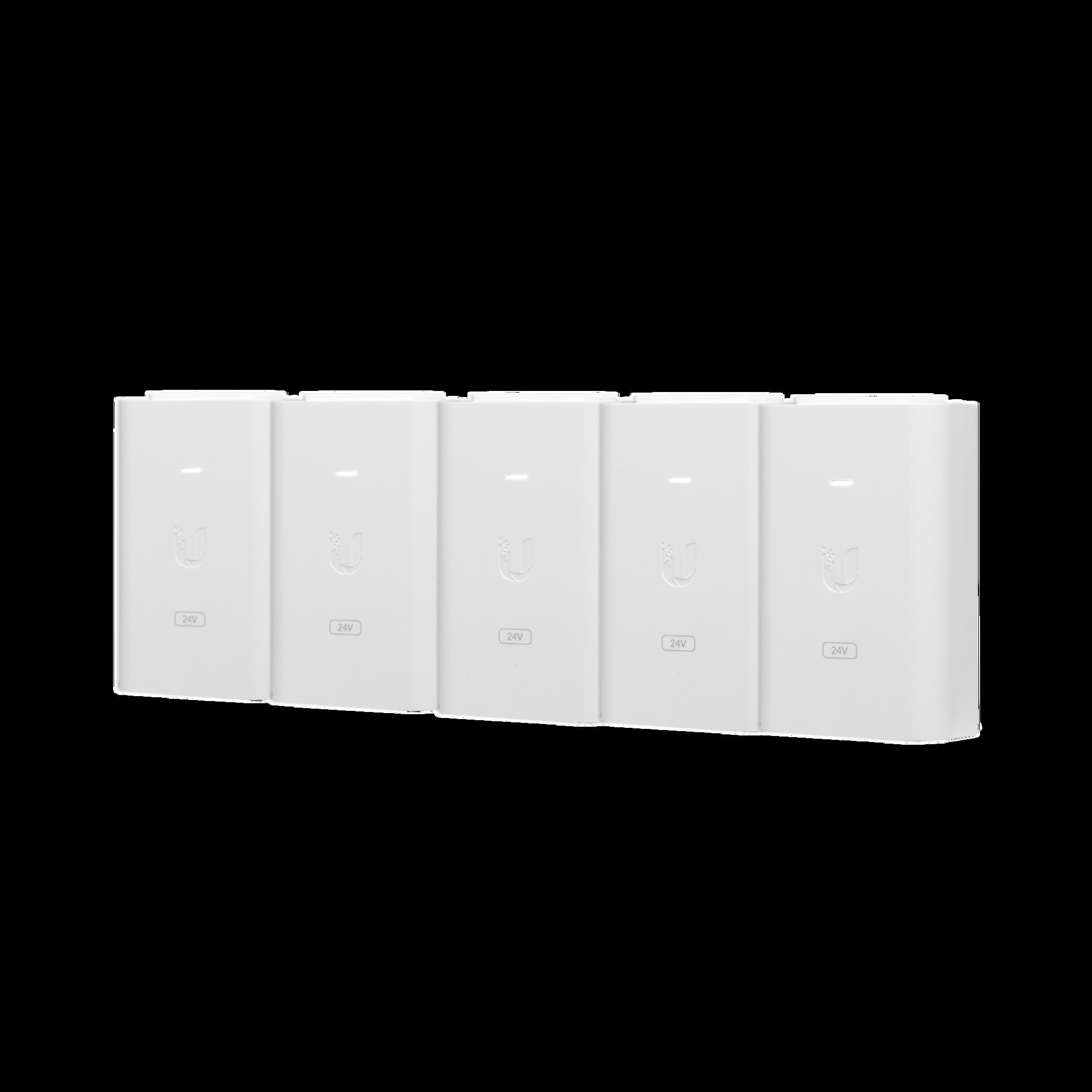 5 Unidades del Adaptador PoE Ubiquiti de 24 VDC, 1.0 A con puerto Gigabit, color blanco