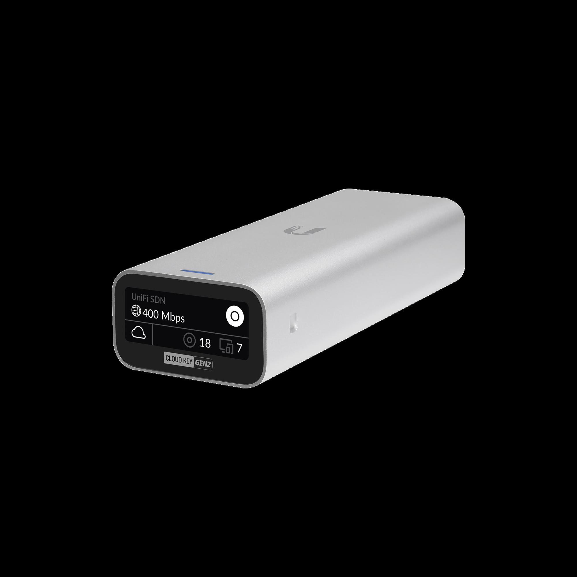 Controlador UniFi Cloud Key Gen2 para gestionar hasta 100 dispositivos UniFi, portal cautivo, alertas, configura via remota, etc.