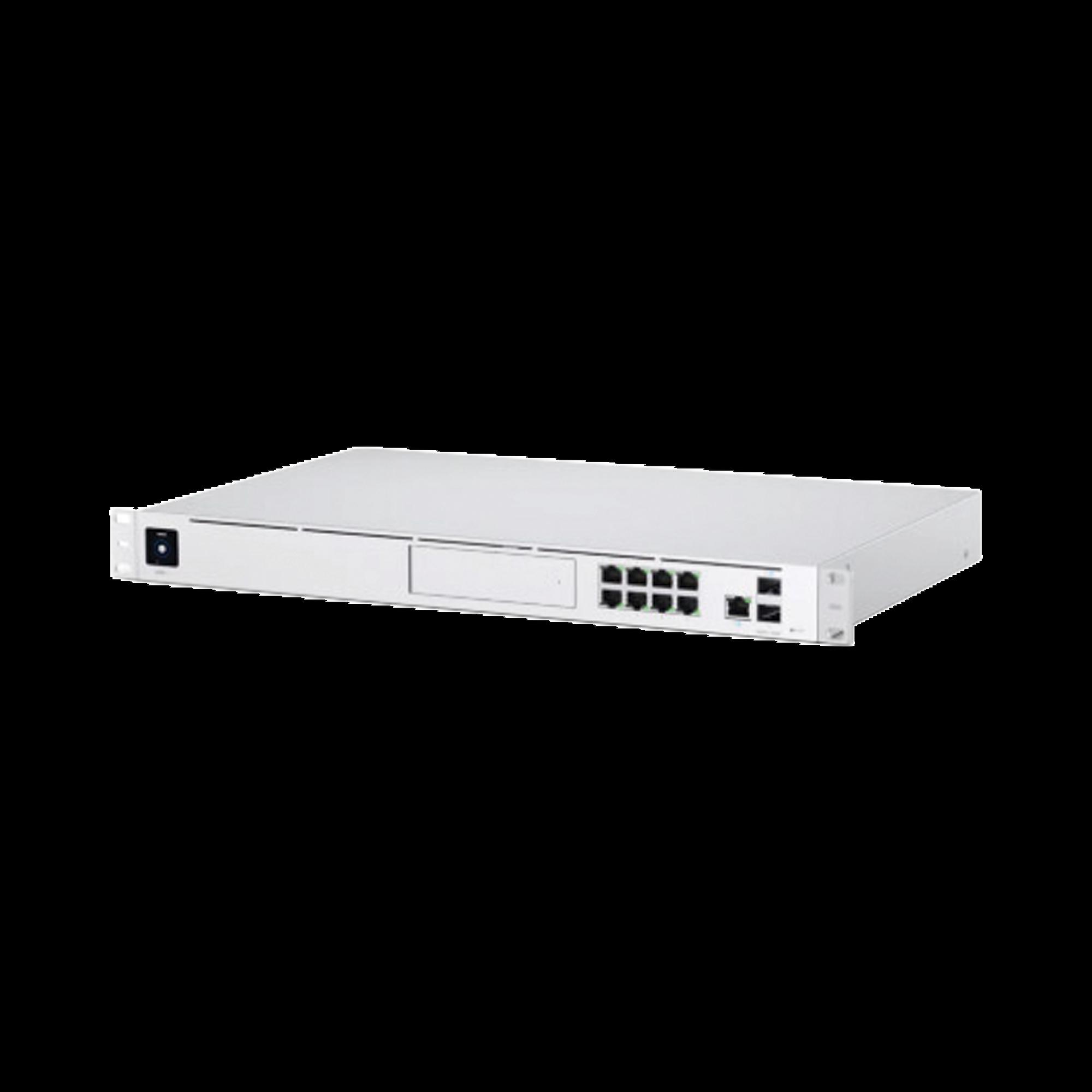 UniFi Dream Machine Pro, de 1 UR con un puerto 10G SFP+ WAN, 8 puertos 10/100/1000 Mbps RJ-45 LAN, y una bahía de HDD 3.5, integra todos los controladores UniFi
