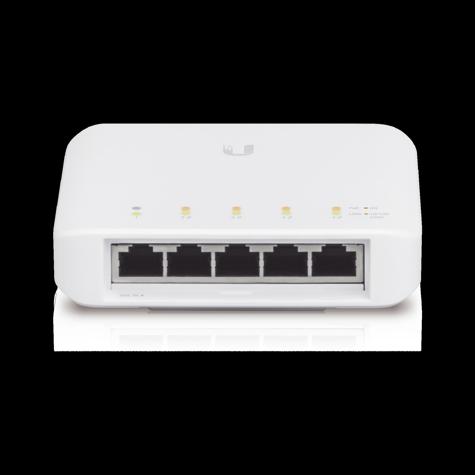 Switch UniFi FLEX para exterior IP55 de 5 puertos (1 x PoE de entrada 802.3af/at/bt y 4 PoE salida 802.3af)
