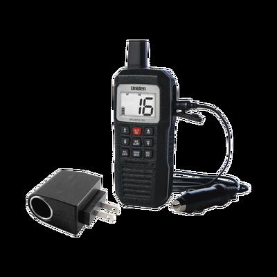 Radio Marino Portátil VHF, flotante y sumergible. Incluye convertidor con entrada tipo encendedor, de 110-220 Vca a 12 Vcd.