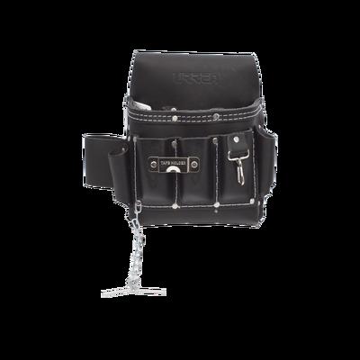 Estuche porta herramienta de piel con cinturón, con 10 bolsillos, medidas 25.4 x 25.4 cm.