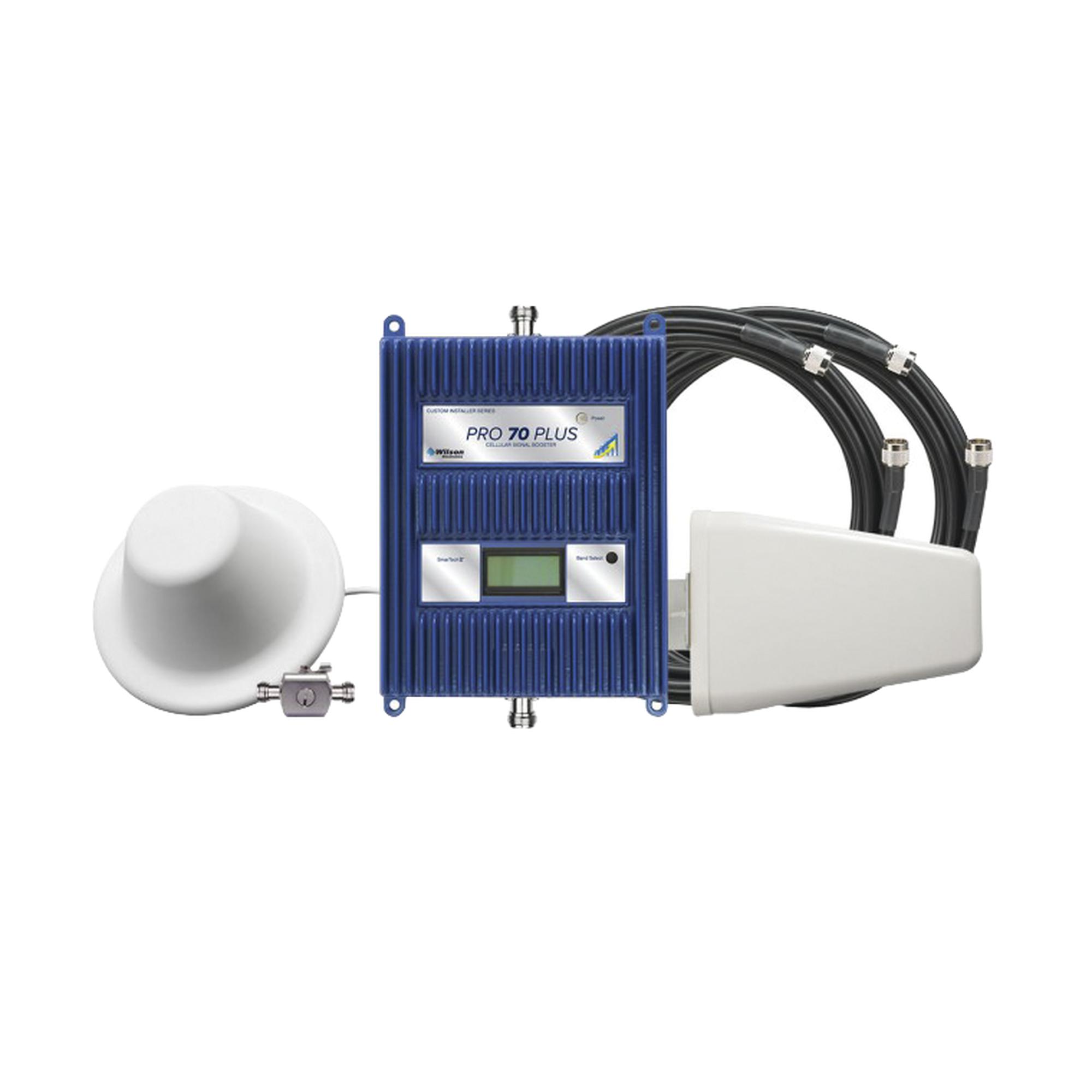 KIT de Amplificador de Señal Celular 4G LTE / TODAS LAS FRECUENCIAS DE MéXICO / Hasta 5000 Metros Cuadrados / Pro 70 Plus LX. Cuatribanda de 77 dB de ganancia máxima.