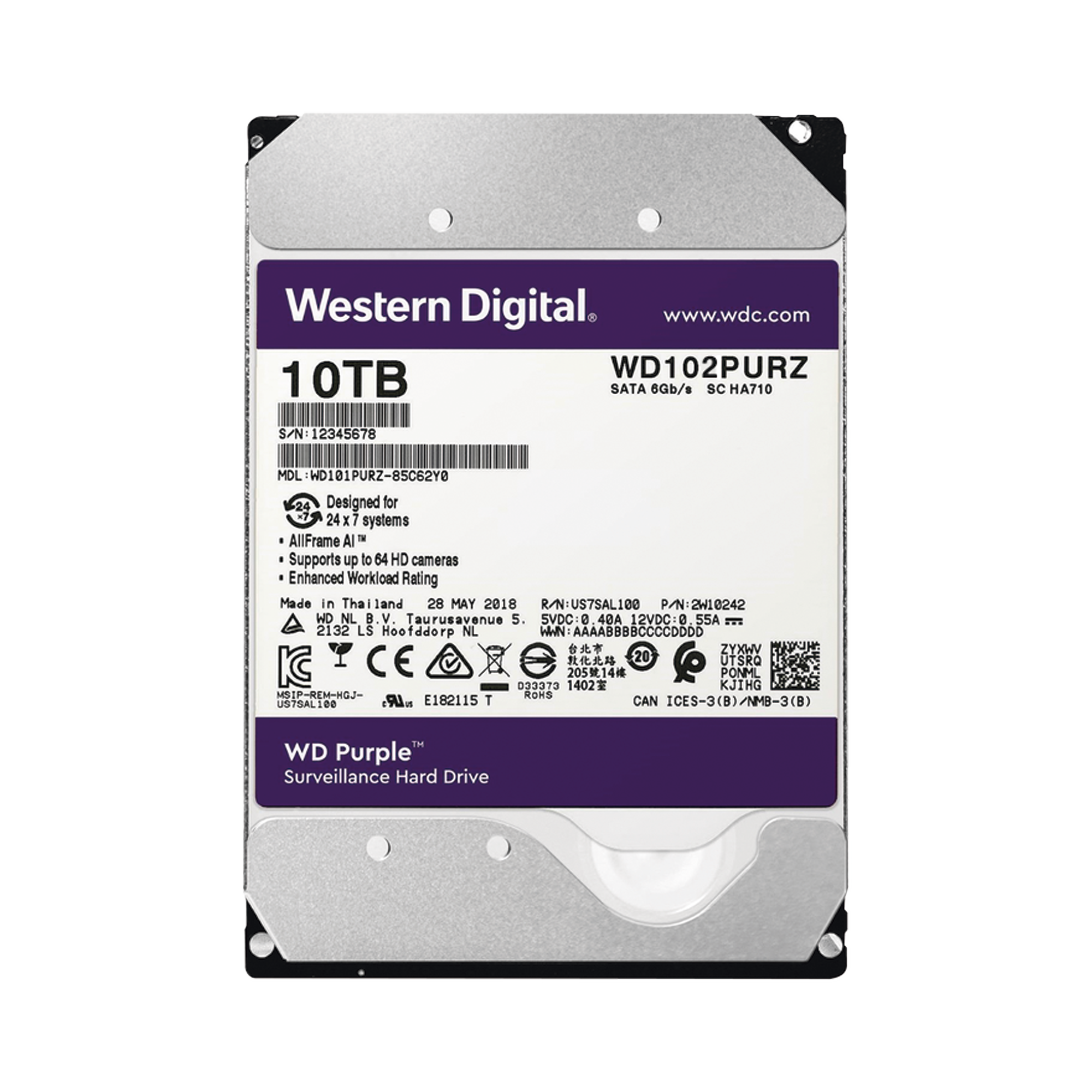 Disco duro WD de 10TB / 7200RPM / Optimizado para Videovigilancia