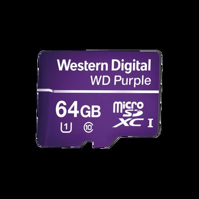 Memoria microSD de 64GB PURPLE, Especializada Para Videovigilancia, 3 VECES MAYOR DURACIÓN QUE UNA CONVENCIONAL