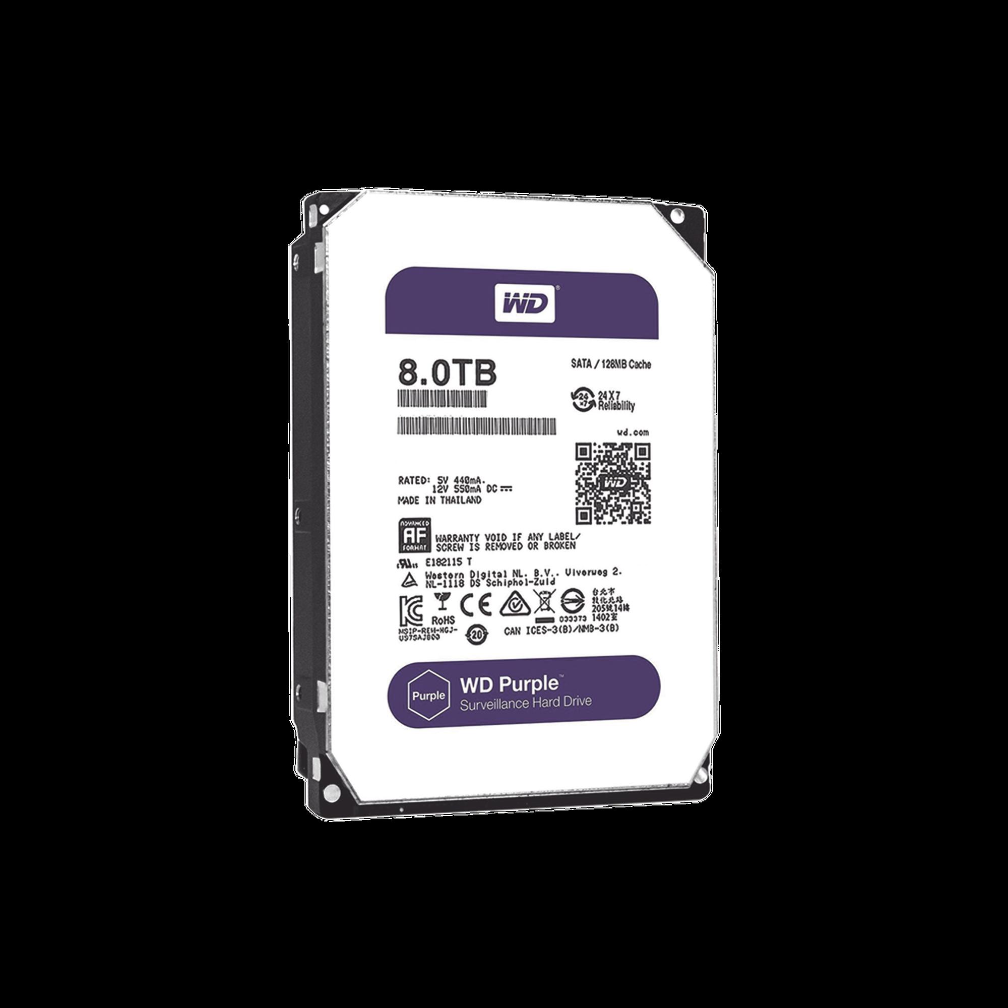 Disco duro WD de 8TB / 7200RPM / Optimizado para Videovigilancia