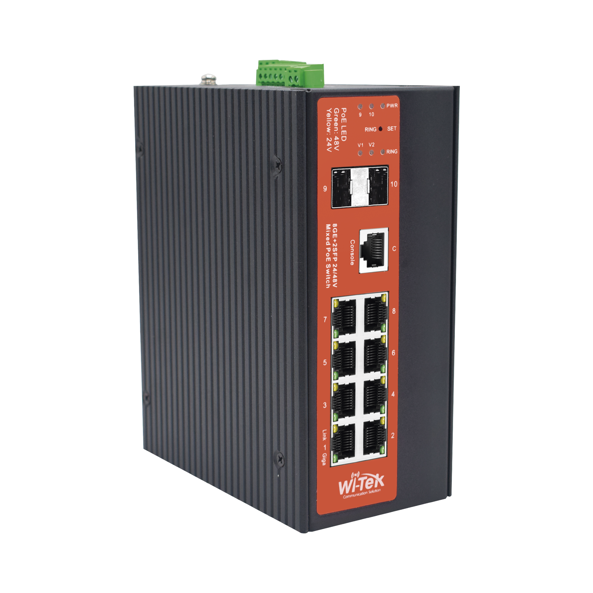 Switch Industrial administrable de 8 puertos Gigabit Ethernet con PoE 802.3af/at y 24V Pasivo + 2 SFP Gigabit, 240 W