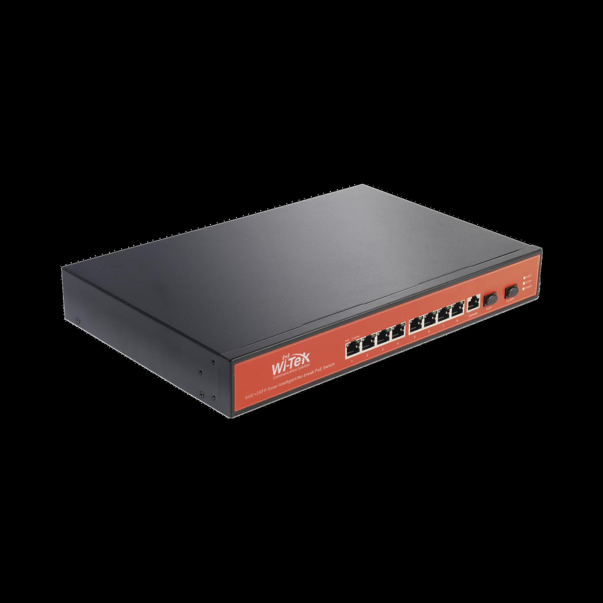 Switch Administrable Capa 2 de 8 puertos 10/100/1000 PoE + 2 x SFP Gigabit, con respaldo para energía solar