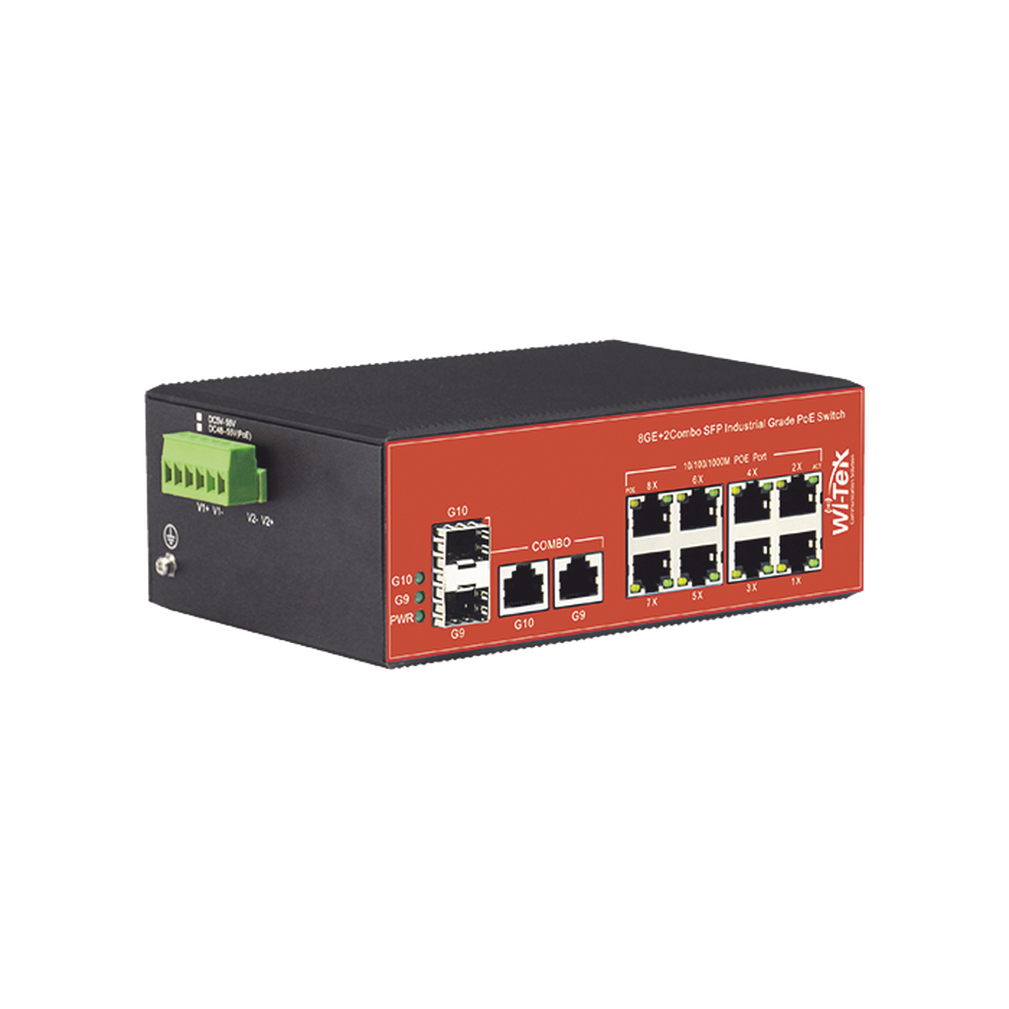 Switch Industrial PoE+ no administrable de 8 Puertos 10/100/1000Mbps + 2 SFP Combo, 150 W