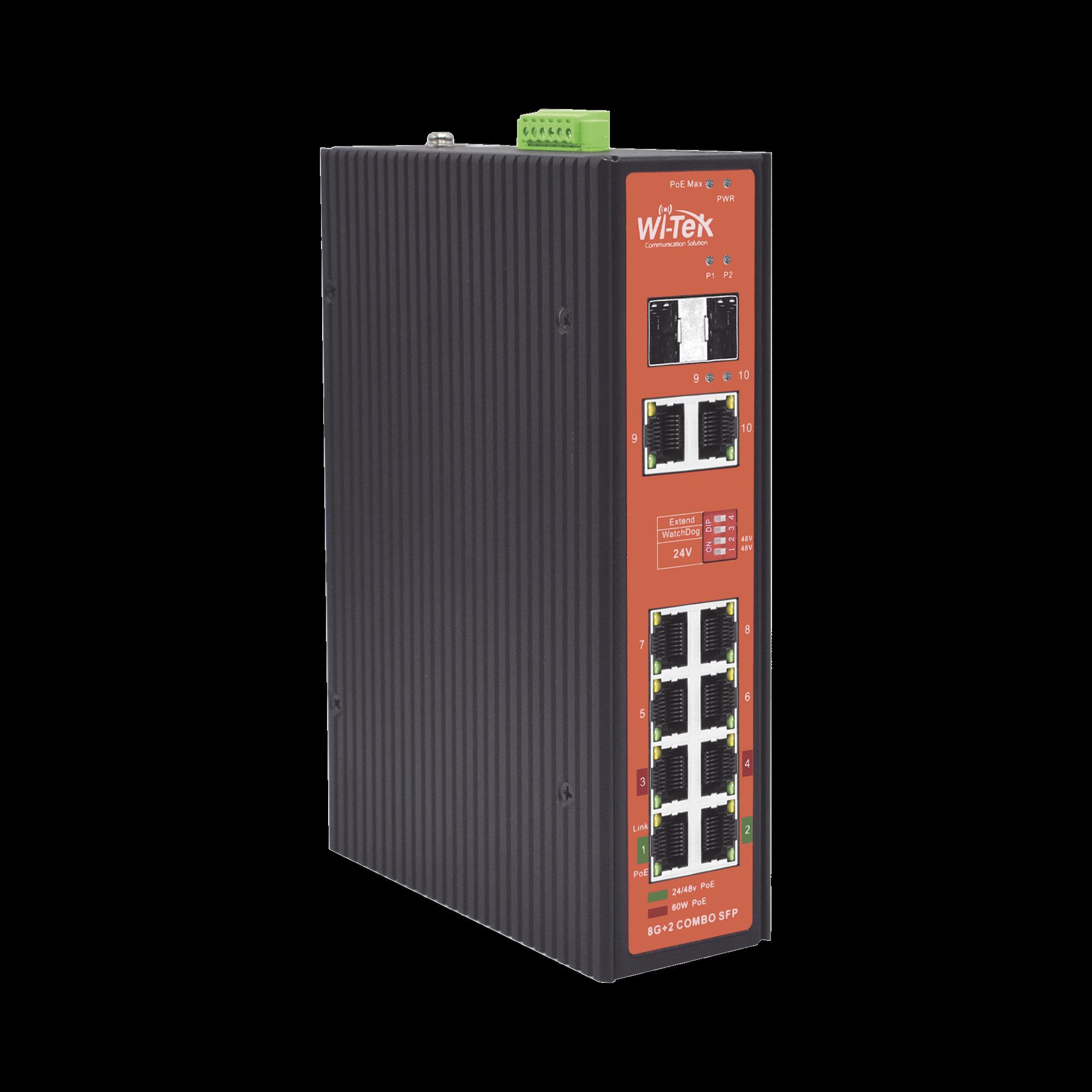 Switch Industrial PoE++ y pasivo de 24V, no administrable con 8 puertos Gigabit + 2 SFP combo