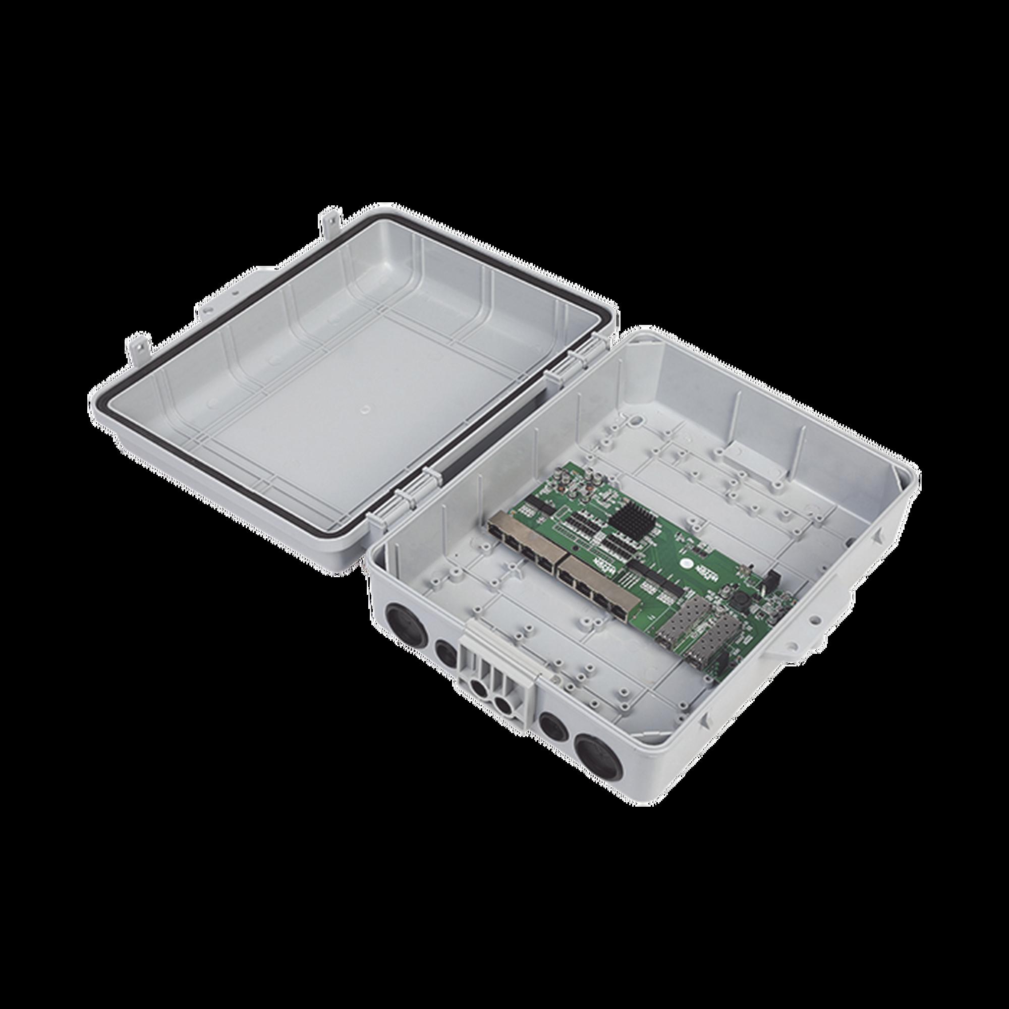 Switch WISP/FTTx con 7 puertos PoE inverso de 24V Pasivo (PoE in), 1 puerto PoE out de 24V + 2 SFP, Integrado con Gabinete NEMA IP67 para exterior