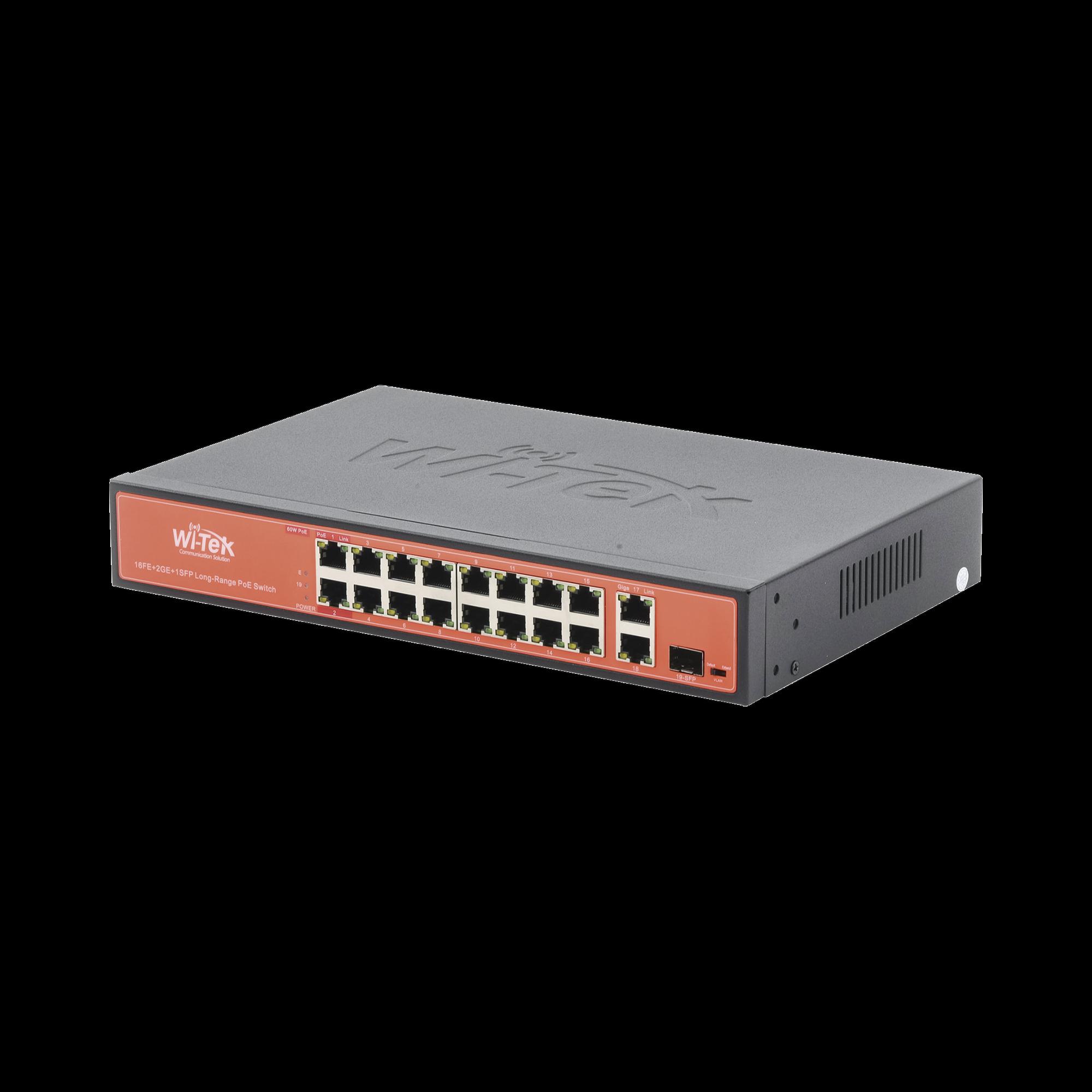 Switch PoE (802.3af/at/bt) no administrable de largo alcance, hasta 250m, 16 x 10/100Mbps (PoE) + 2 x 100/1000Mbps + 1 x SFP, 200 W