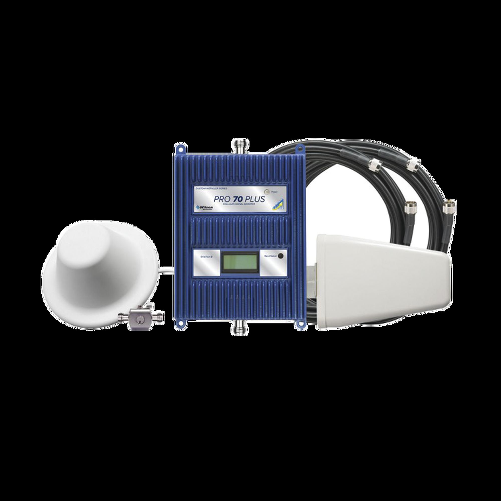 KIT Amplificador de señal celular 4G LTE, 3G y VOZ. Especial para cubrir áreas de hasta 5000 Metros Cuadrados por ser de grado comercial e industrial.  Soporta múltiples operadores, tecnologías y usuarios.