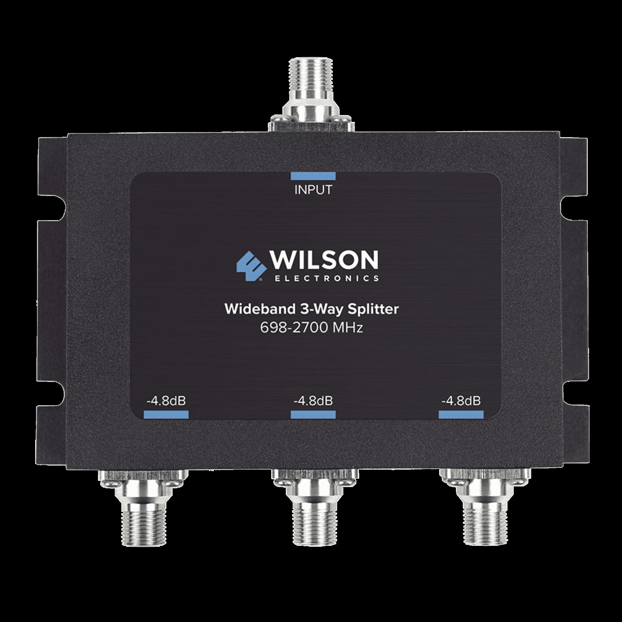 Divisor de potencia de 3 vías para la distribución de señal a tres antenas de servicio | 4.8 dB de pérdida por puerto | Conectores F hembra