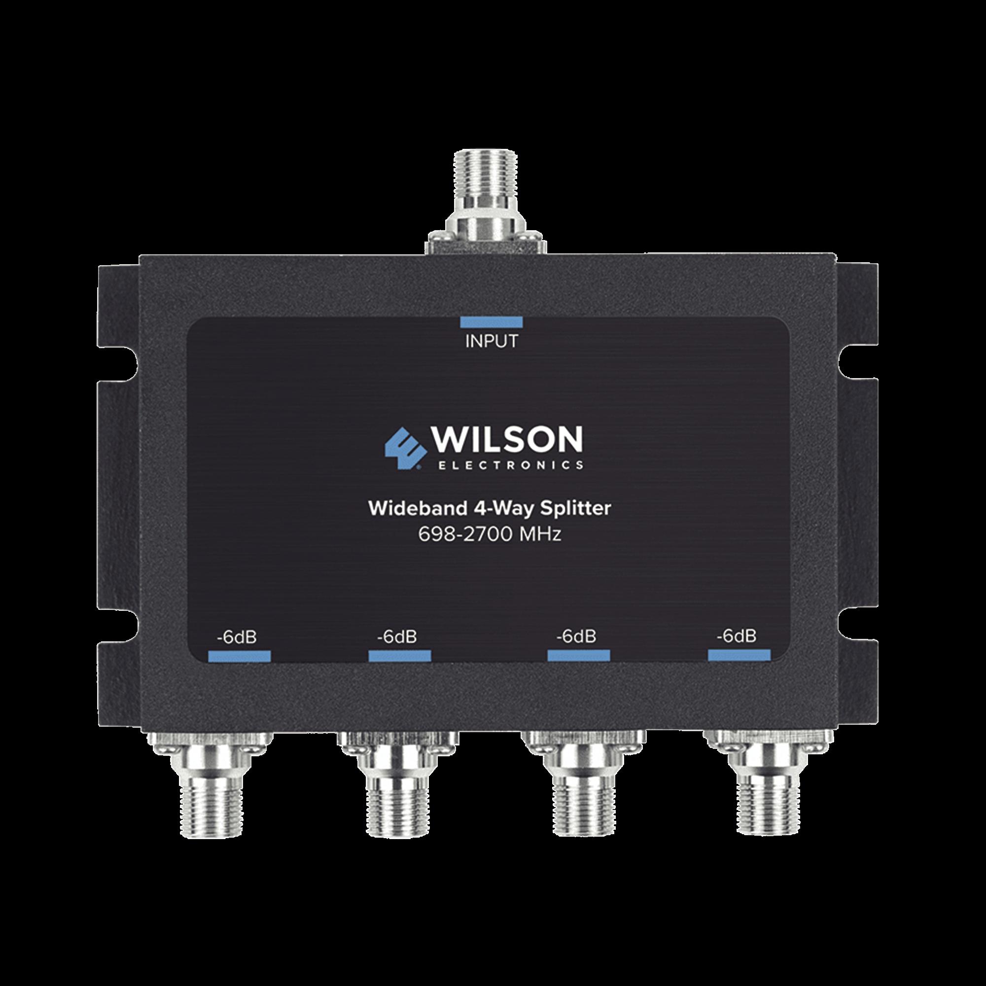 Divisor de potencia de 4 vías para la distribución de señal a dos antenas de servicio | 6 dB de pérdida por puerto | Conectores F hembra