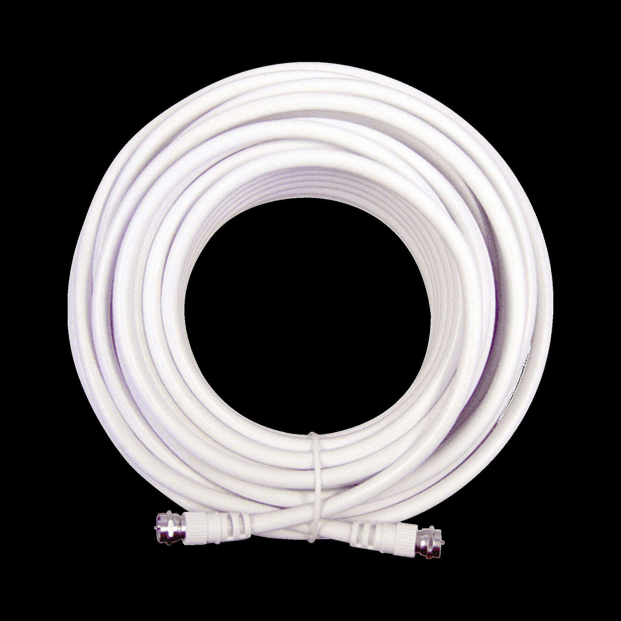 Jumper Coaxial con Cable Tipo RG-6 en Color Blanco de 15.24 Metros de Longitud y Conectores F Macho en Ambos Extremos. 75 Ohm de Impedancia.