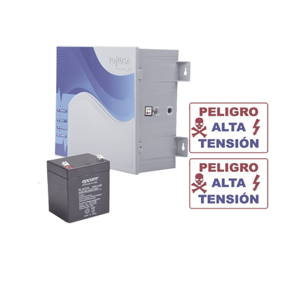 KIT de Energizador de 12,000Volts-.9JOULES/2500 mts lineales de proteccion/Activado por Atenuación de voltaje,Corte de línea o Aterrizamiento de la línea/Integración a panel de Alarma.