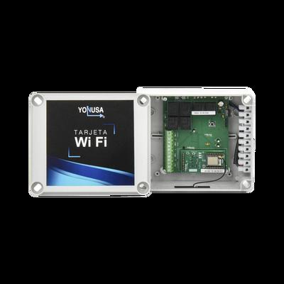 Modulo WIFI con gabinete para uso en Energizadores YONUSA/Aplicación sin costo/Activación Remota de 4 salidas tipo Relay con alta capacidad.