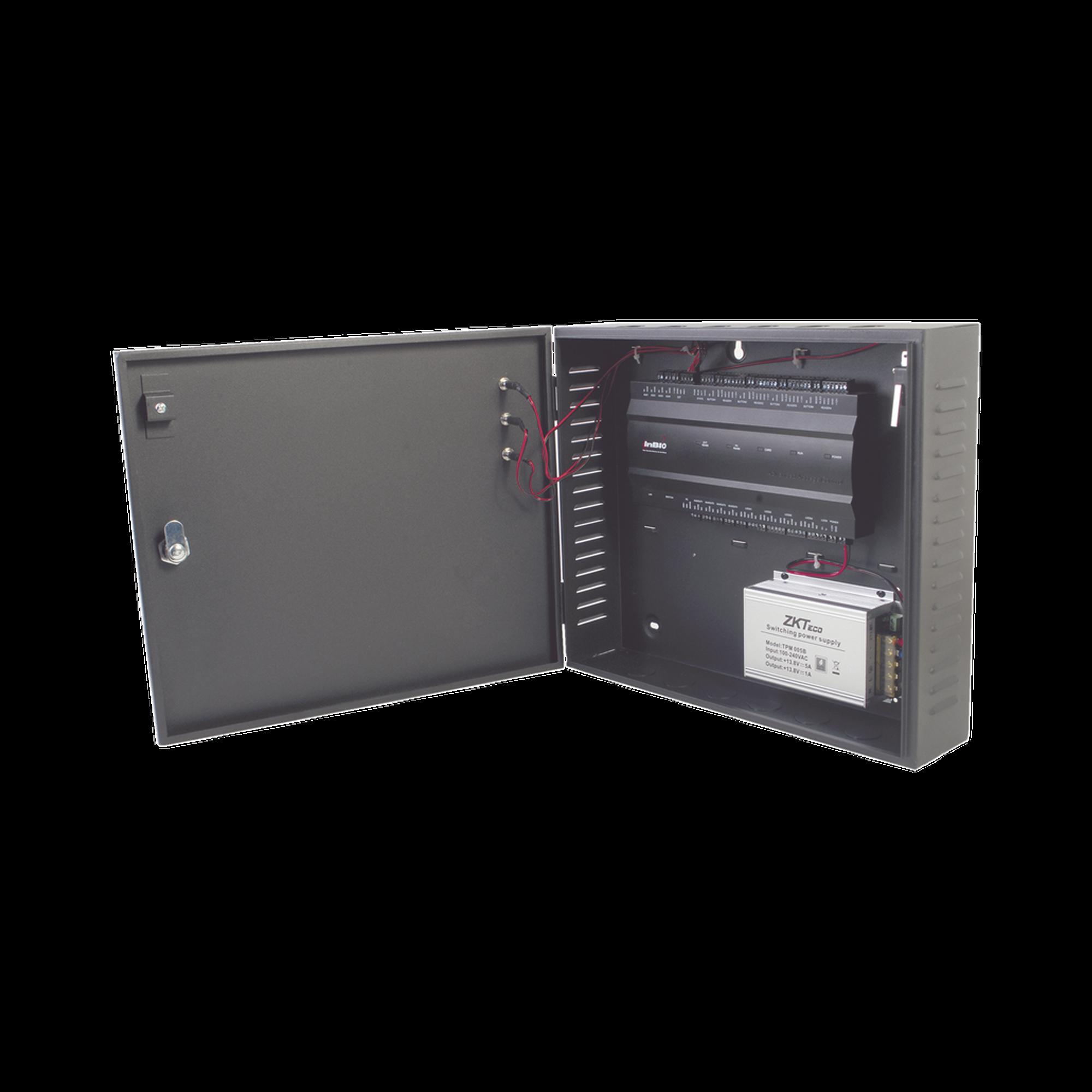 Controlador de acceso / 4 PUERTAS / Biometría Integrada / Hasta 3,000 Huellas / 30,000 Tarjetas / Incluye Gabinete y Fuente de Alimentación 12VCD/5A