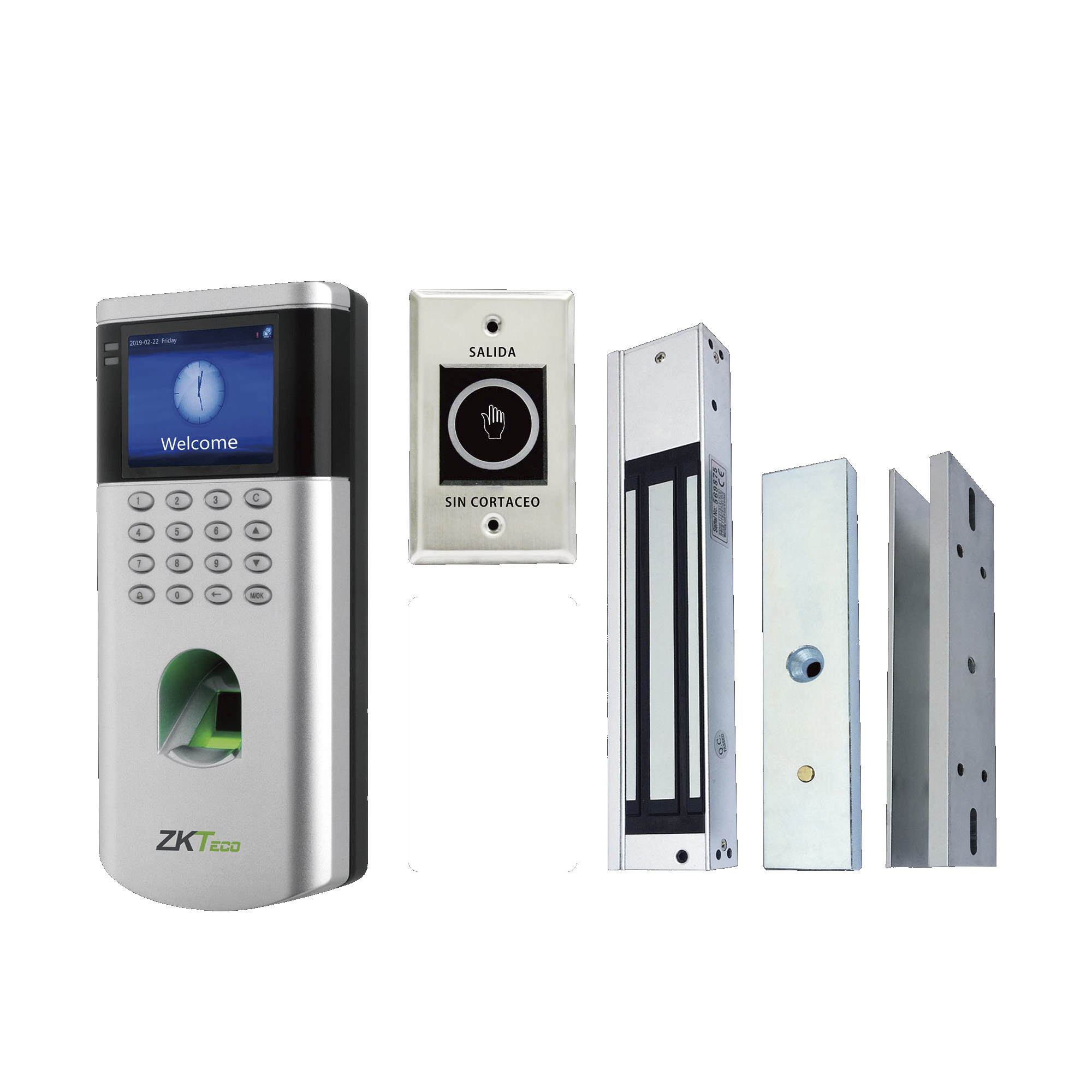 KIT de Control de Acceso LF10 / 1,500 Usuarios / Chapa magnética / Botón de Salida / Tarjeta de proximidad