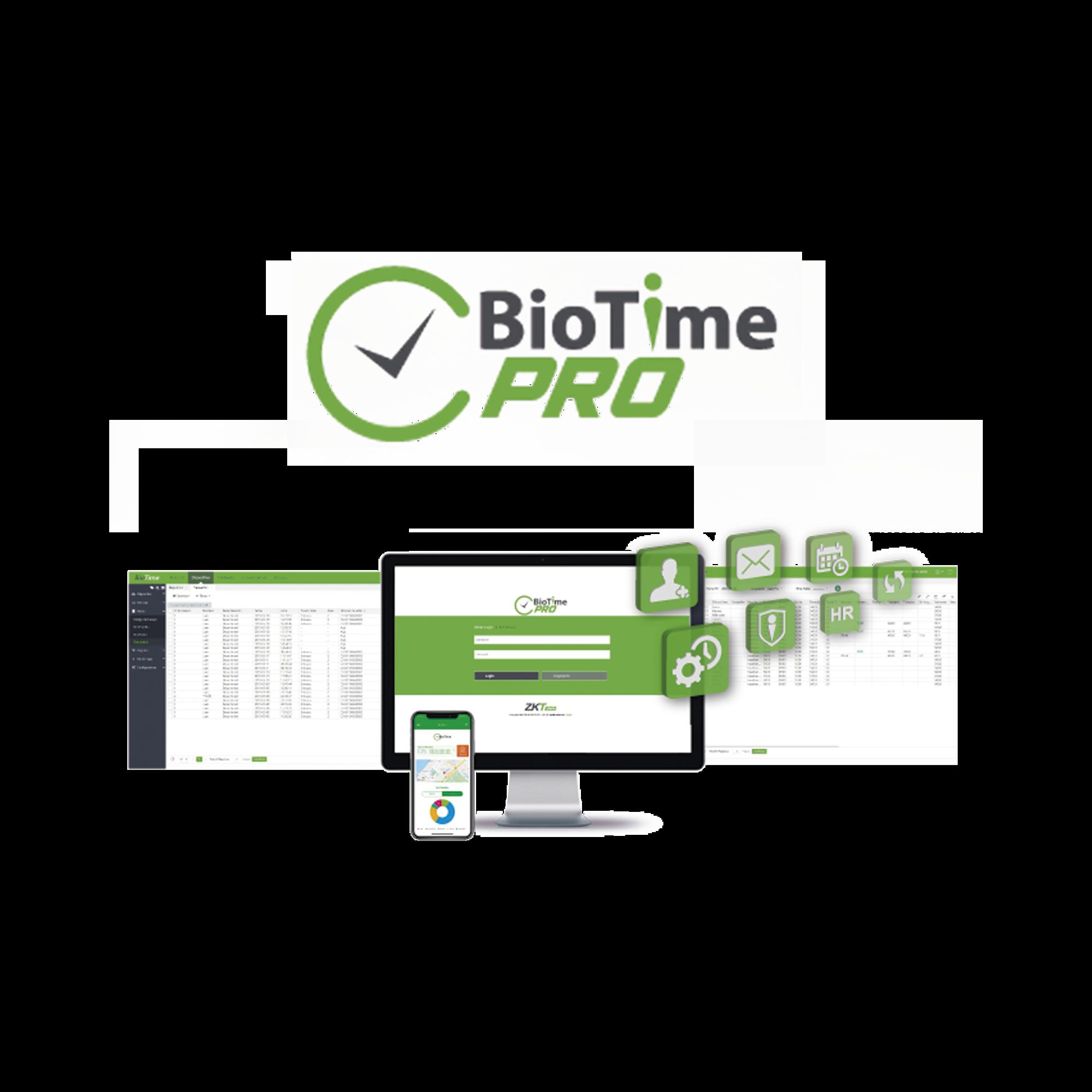 Software de Gestión Centralizada de Asistencia BIOTIMEPRO Licencia LITE 10 dispositivos y 1000 empleados