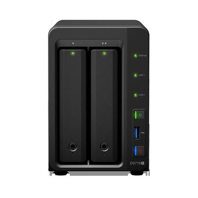 Servidor DS716PLUSII NAS de escritorio con 2 bahías, capacidad de 16TB, expandible a 56TB