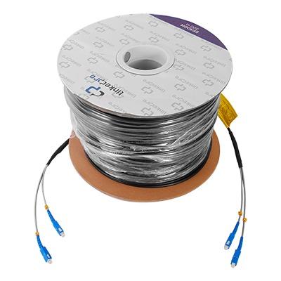 Carrete de fibra óptica monomodo con conectores SC-SC Duplex, reforzada con Kevlar, de 300 metros